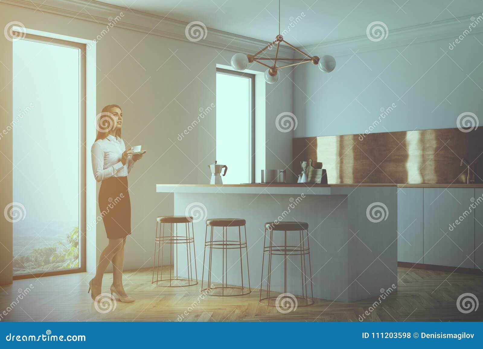 White Bathroom With Concrete Floor Blur Stock Illustration ...