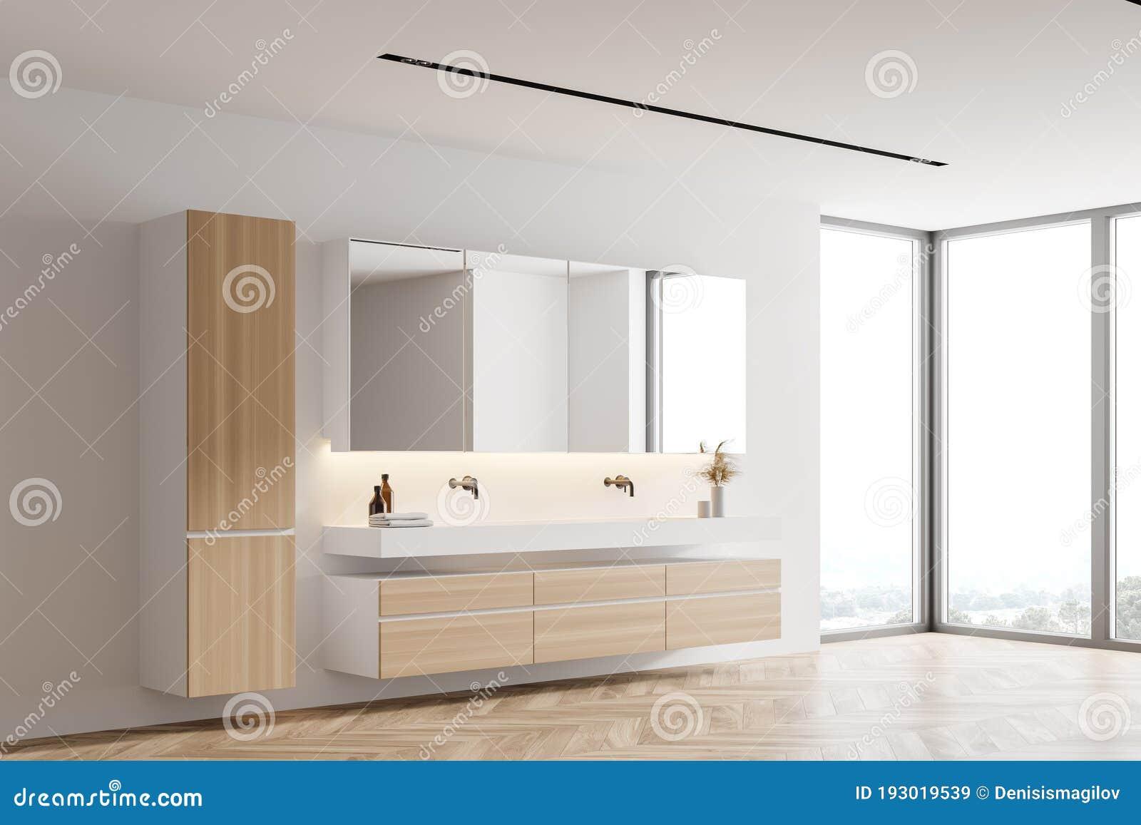 White Bathroom Corner With Double Sink Stock Illustration Illustration Of Inside Property 193019539