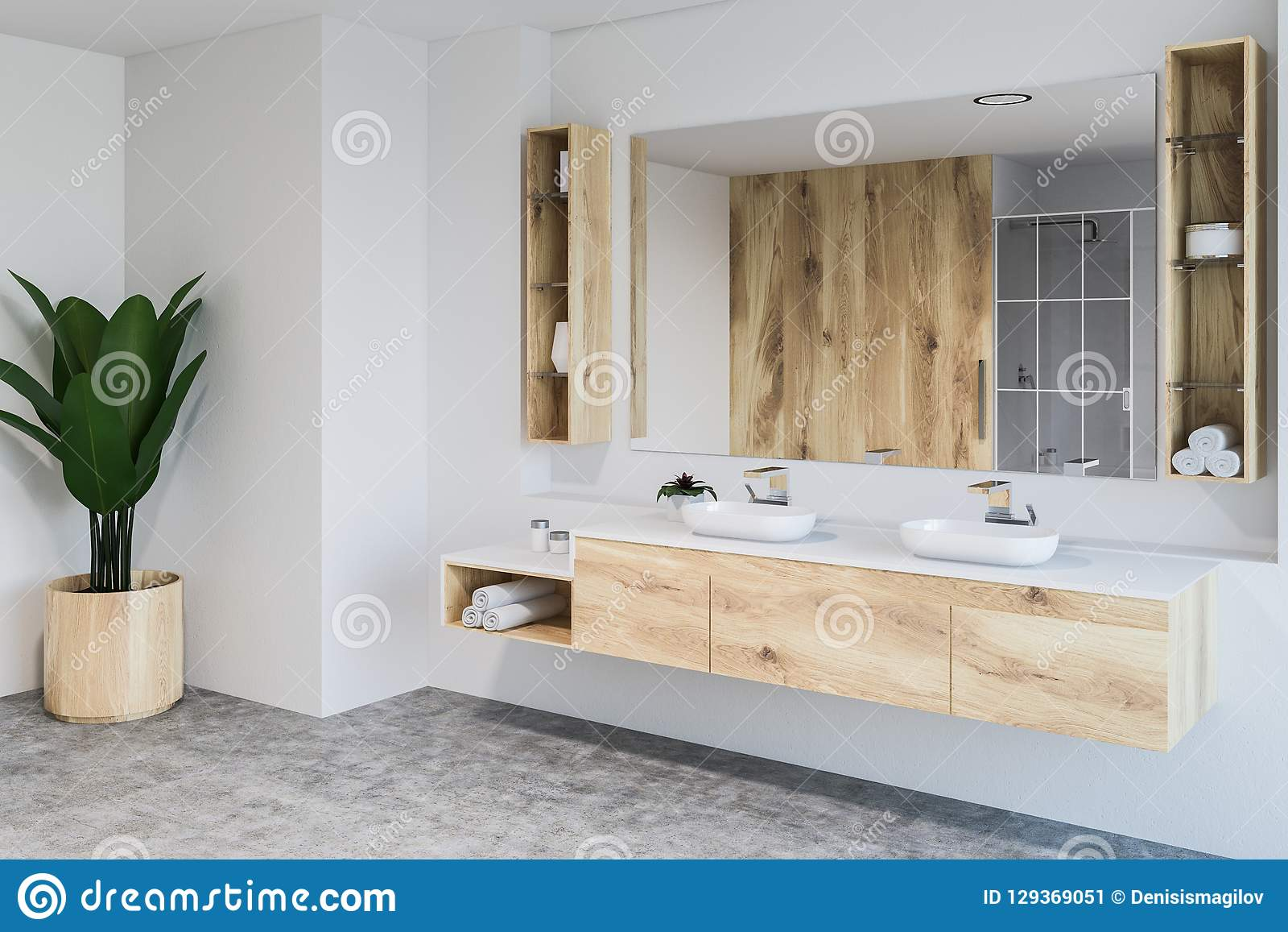 White Bathroom Corner Double Sink And Plant Stock Illustration Illustration Of Contemporary Interior 129369051