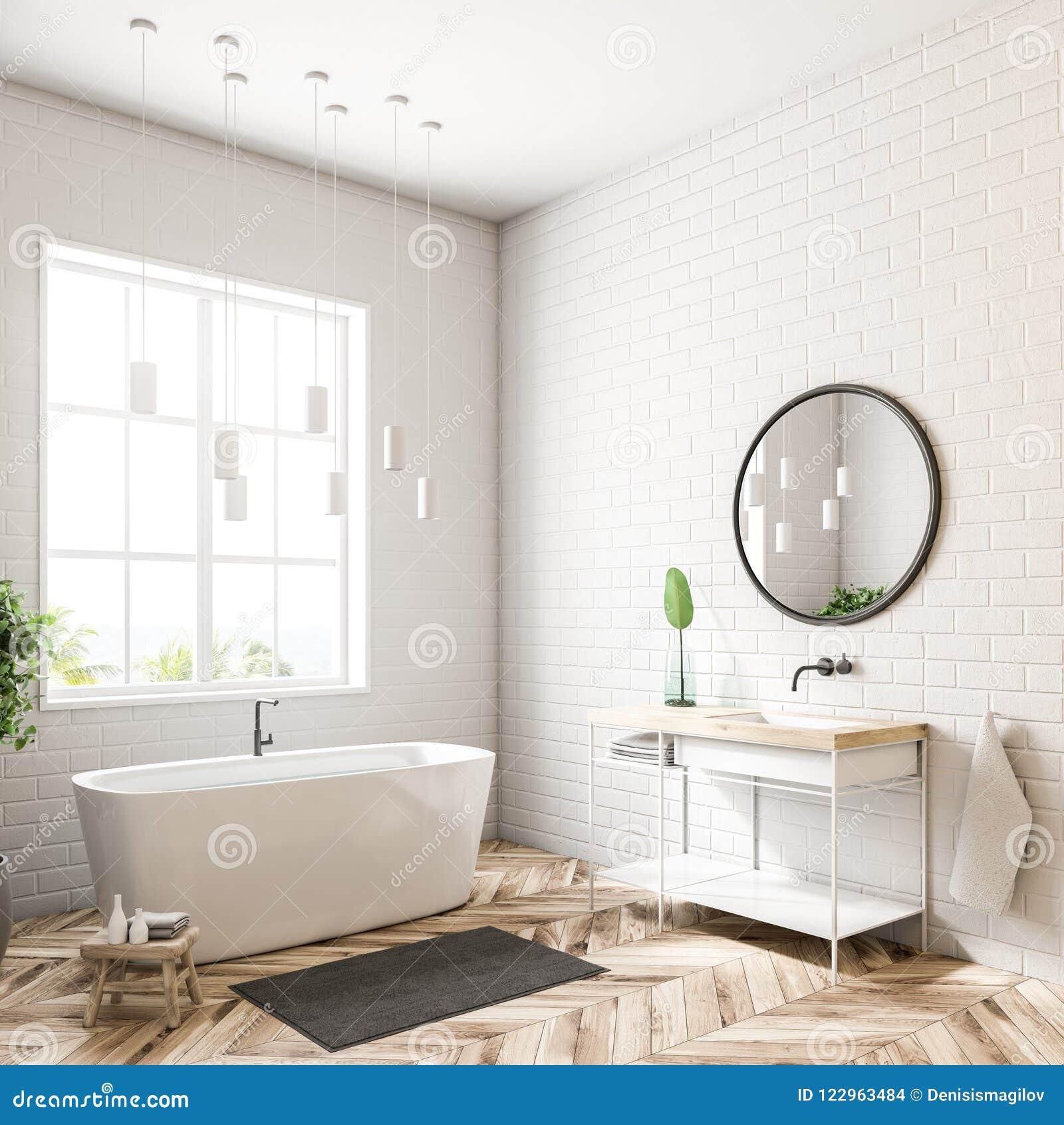 White Bathroom Corner, Mirror Stock Illustration - Illustration of ...