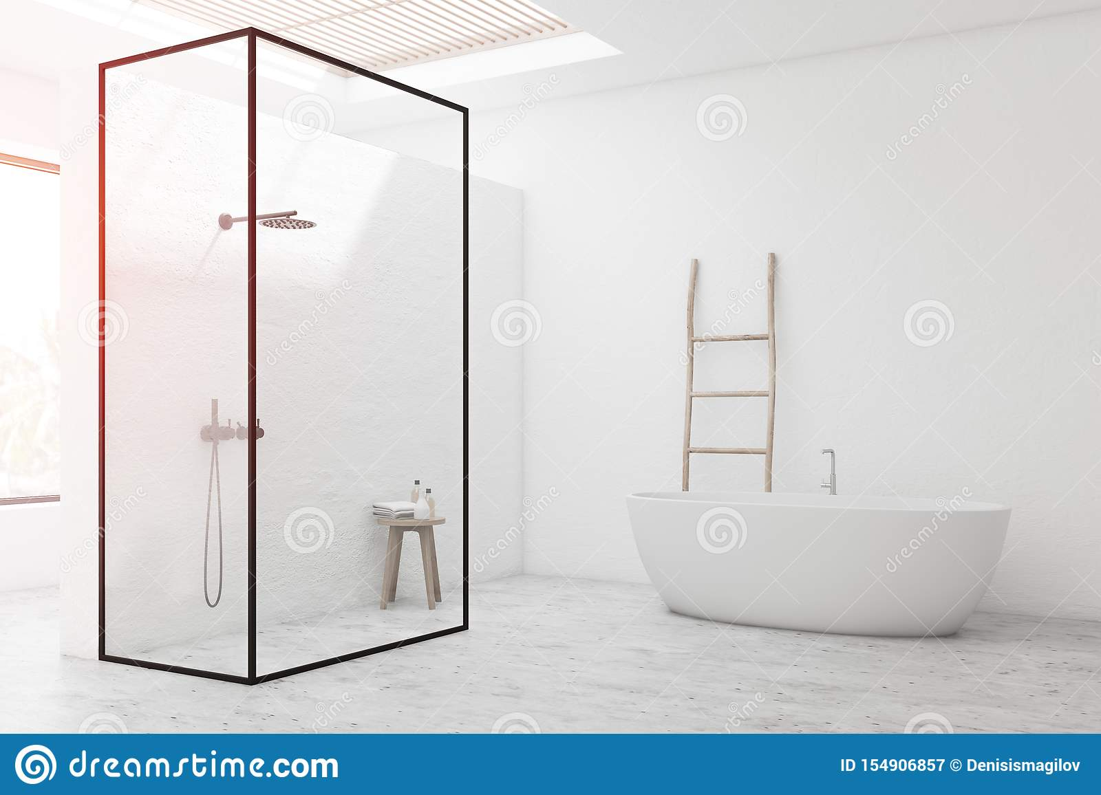 White Bathroom Corner With Shower And Tub Stock Illustration Illustration Of Home Ceiling 154906857