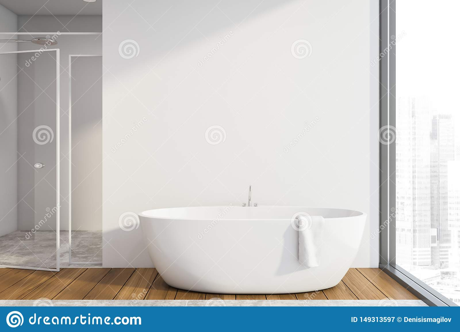 White Bathroom Interior Tub And Shower Stock Illustration Illustration Of Architecture Cozy 149313597