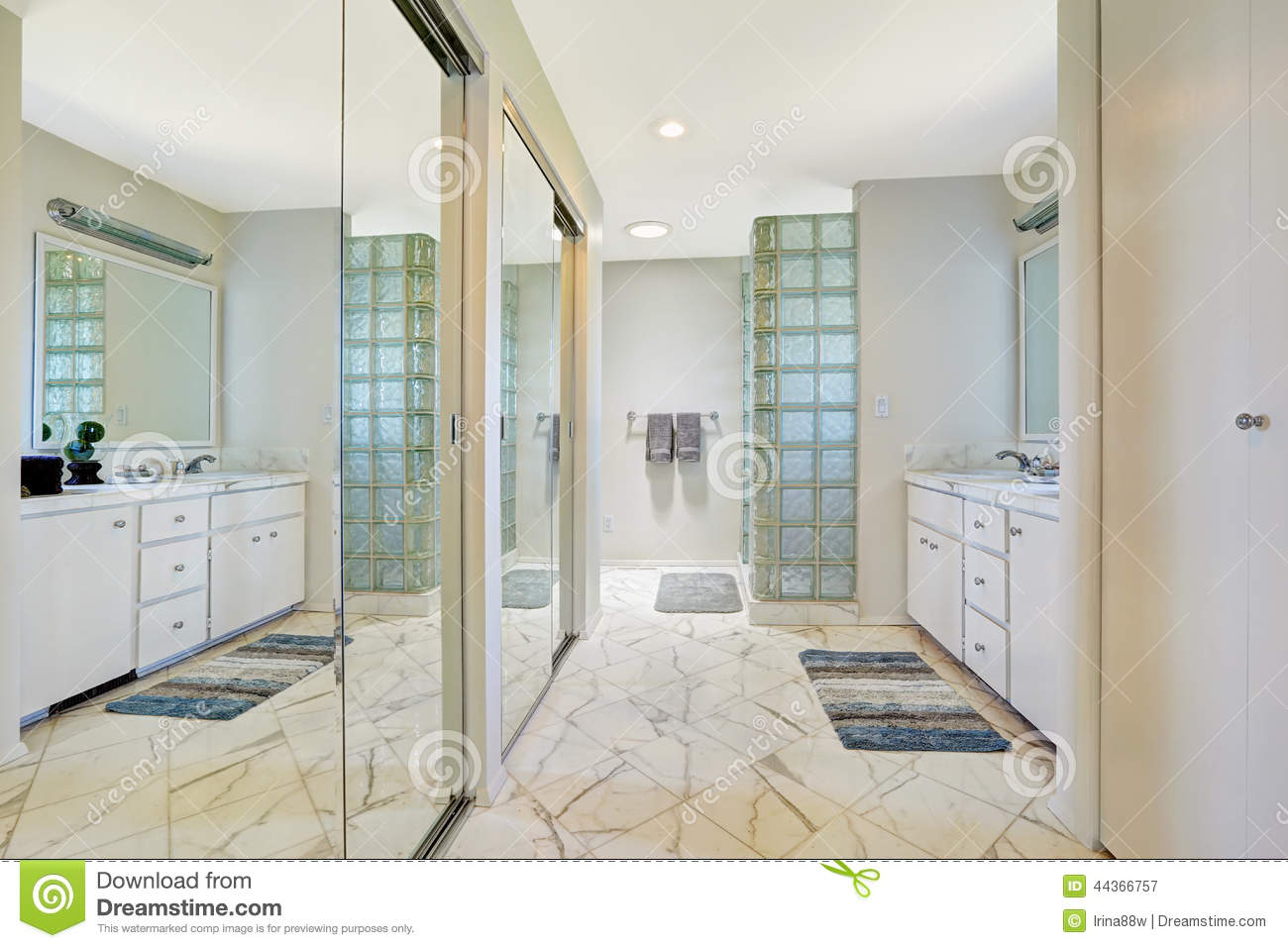 White Bathroom With Mirror Slide Doors Stock Image - Image of tile ...