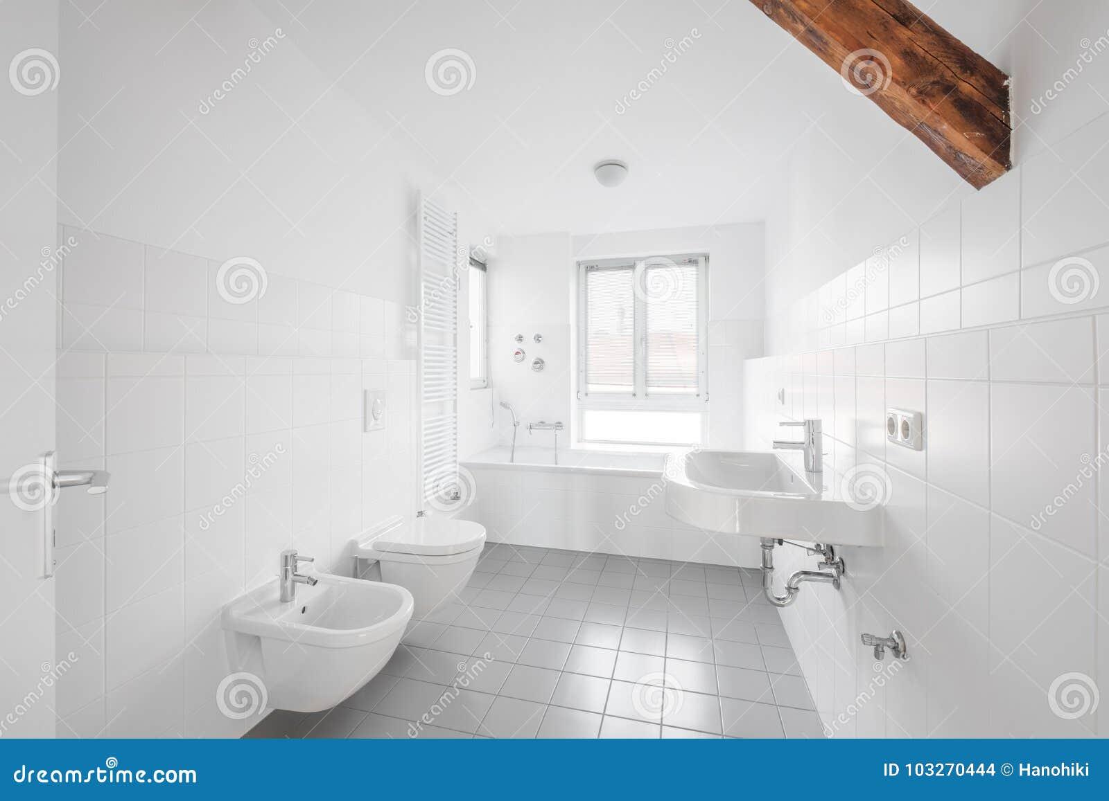 White Bathroom - Modern Tiled Bath Bathtub - Stock Photo - Image of ...