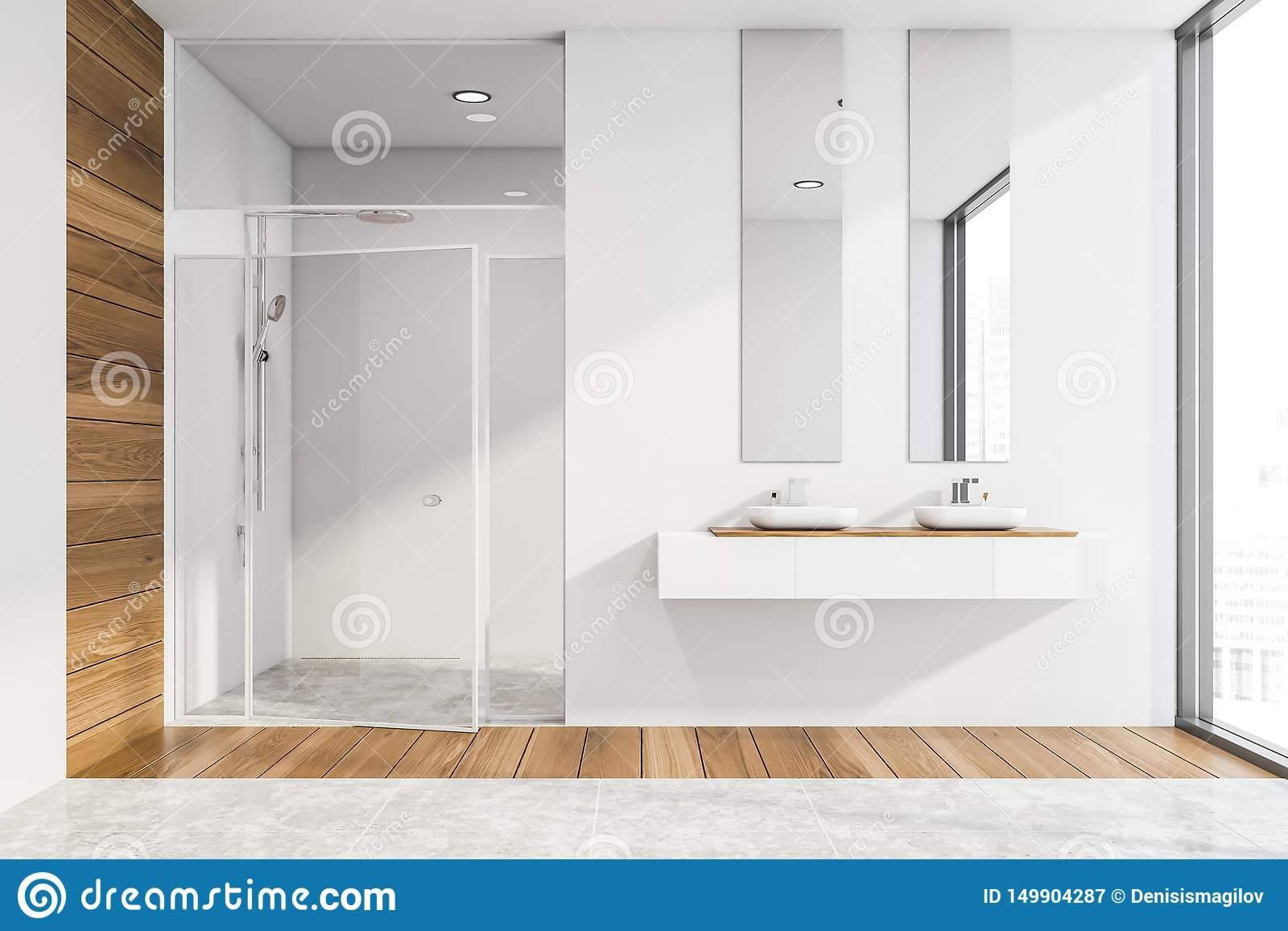 White Bathroom With Shower And Sink Stock Illustration