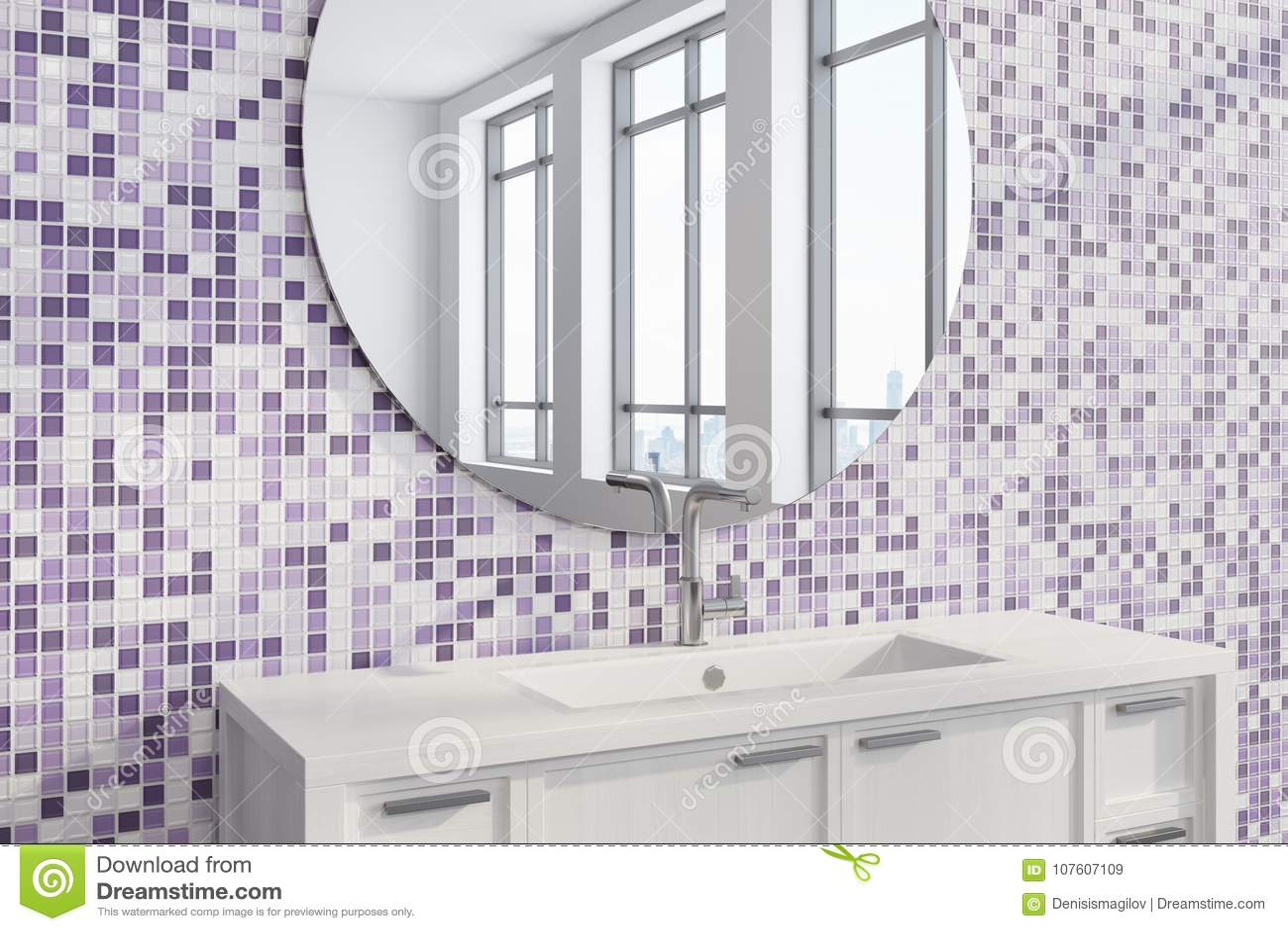 Purple Tile Bathroom Sink, Side Stock Illustration - Illustration of ...