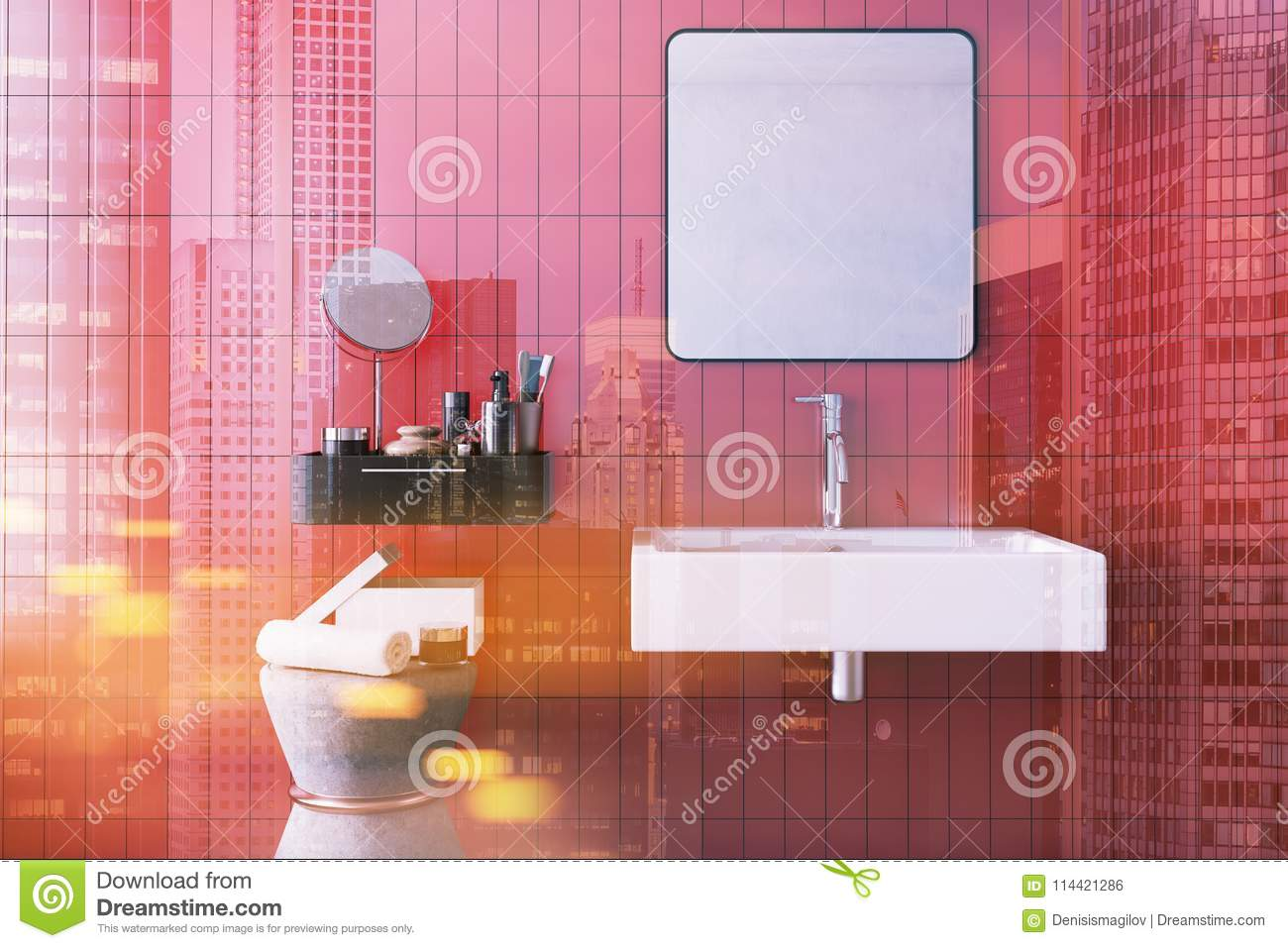 Red Square Bathroom Sink Interior Toned Stock Illustration