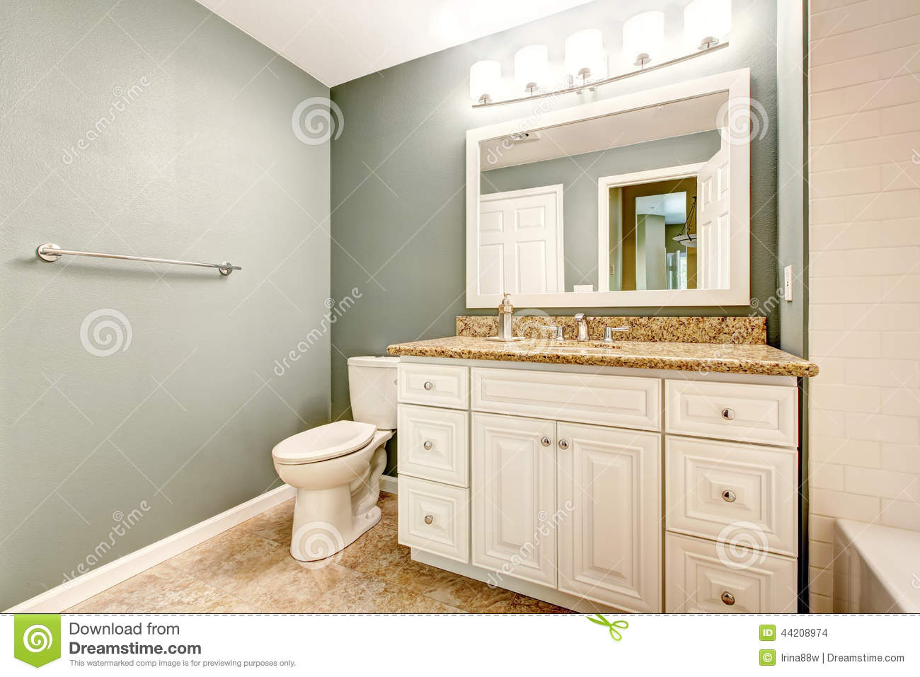 White Bathroom Vanity Cabinet With Granite Top Stock Photo