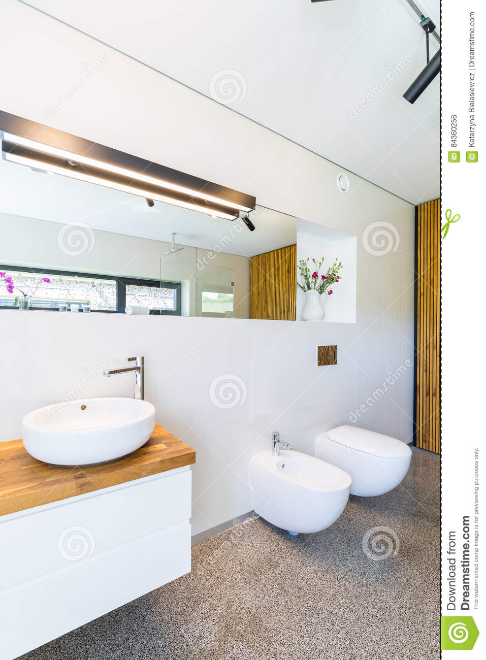 White Bathroom With Wooden Details Stock Photo - Image of style ...