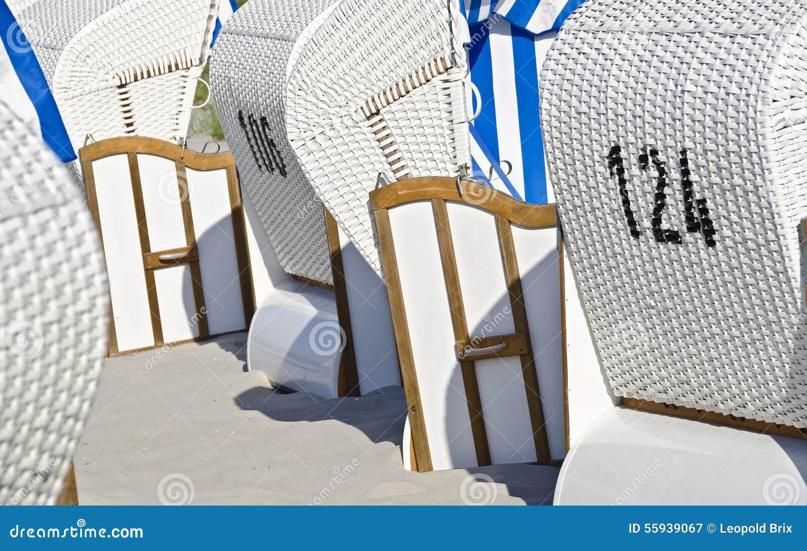 White Beach Chairs Stock Image