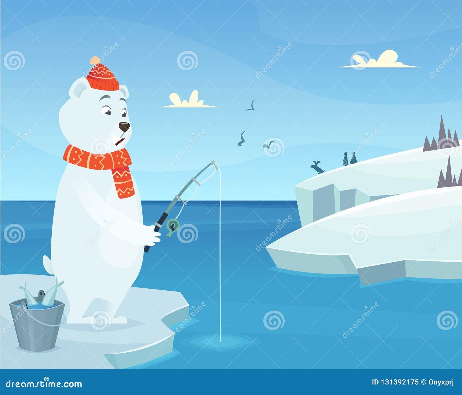 White Bear Background Iceberg Ice Winter Animal Standing Vector