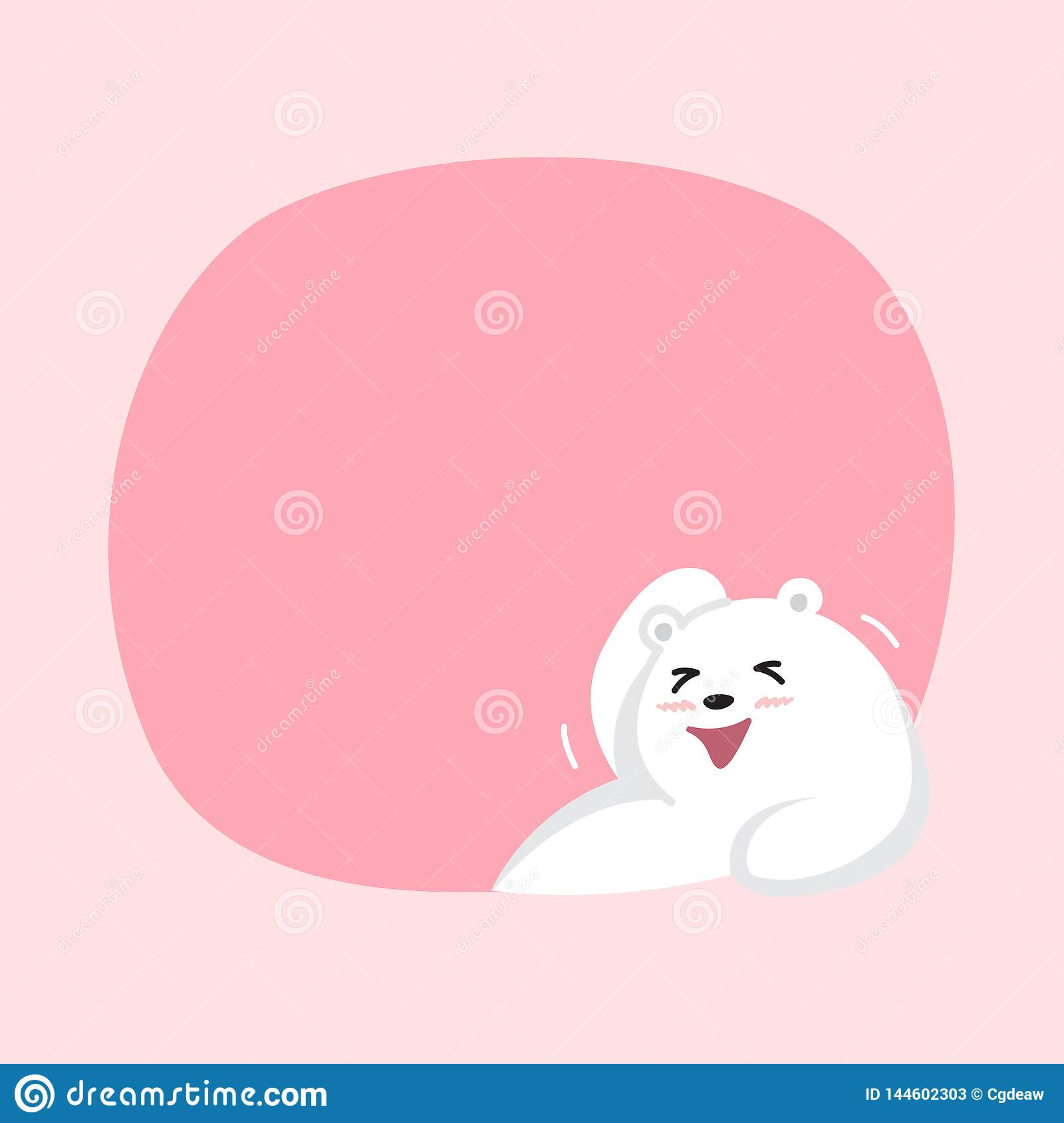 White Bear Cartoon Character Cute On Pink Pastel Color Background For Banner Copy Space Empty White Bear On Speech Bubble Stock Vector Illustration Of Happy Cartoons 144602303