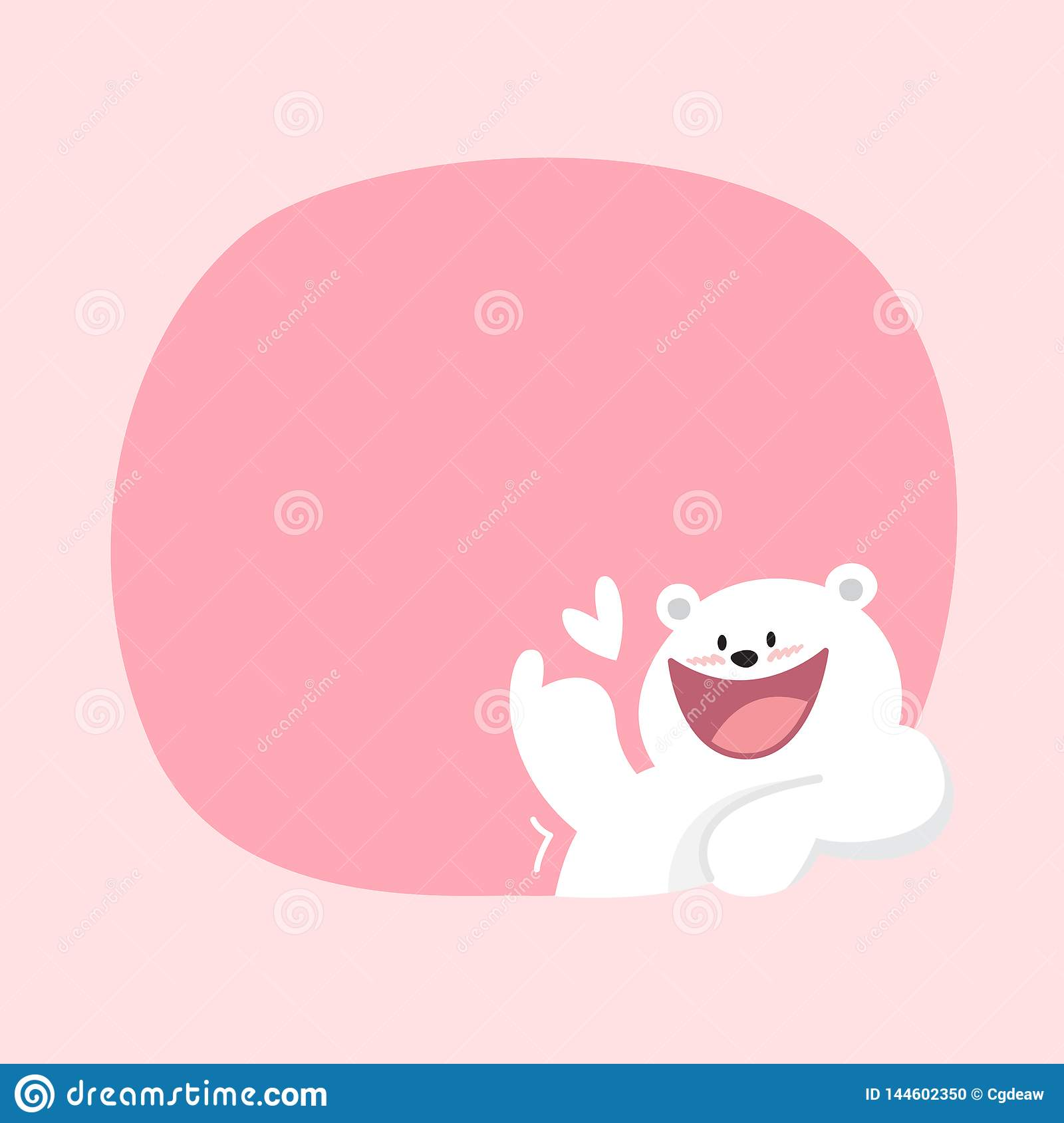 White Bear Cartoon Character Cute On Pink Pastel Color Background For Banner Copy Space Empty White Bear On Speech Bubble Stock Vector Illustration Of Happy Animals 144602350