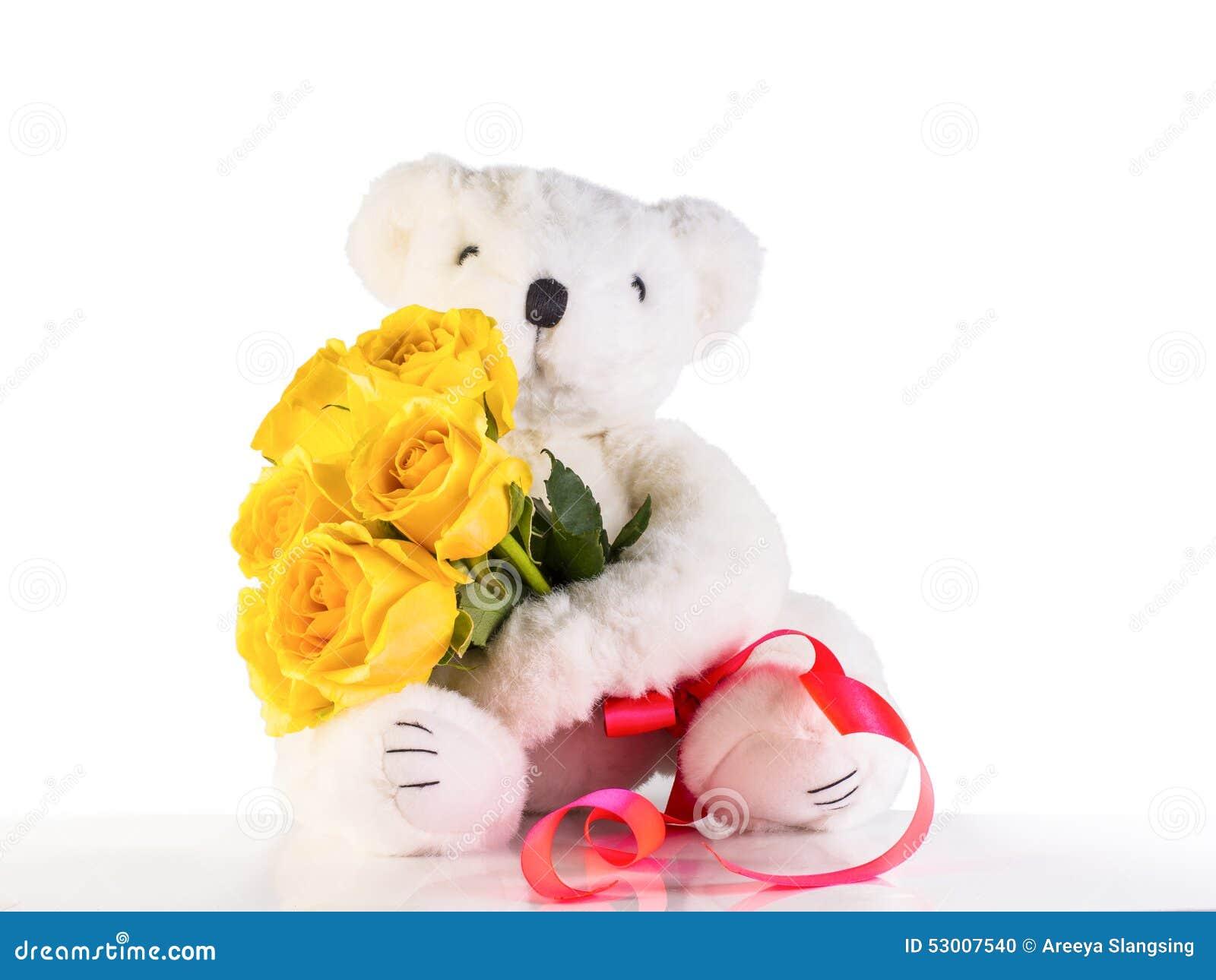 white bear holding yellow roses stock photo image of Teddy Bear Vector Art Teddy Bear Outline Vector