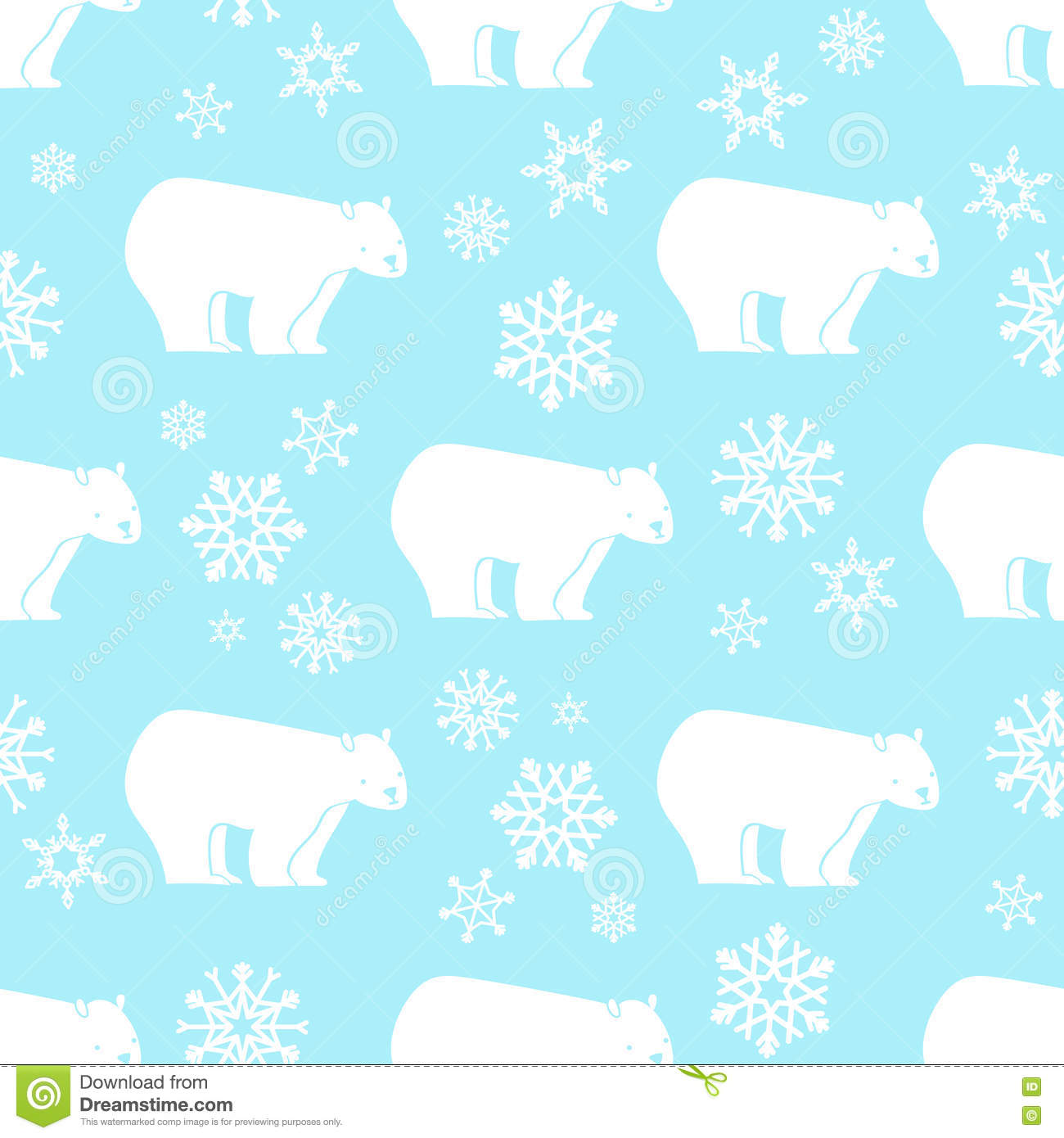 White bear seamless pattern with snowflakes white and blue