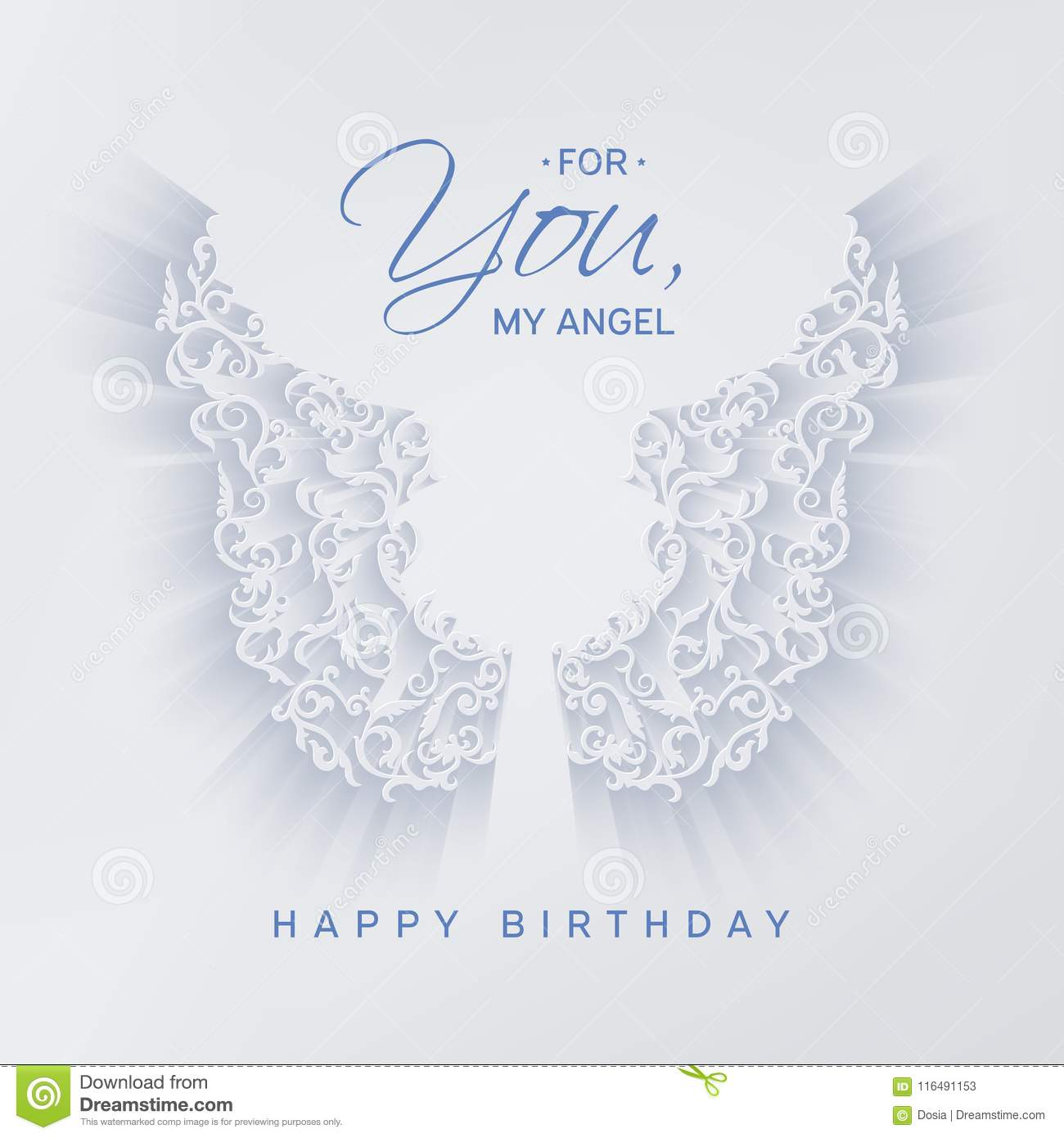 Happy birthday card with angel wings stock vector illustration of white beautiful angel ornamental wings on a light background outline decor with shadow congratulation text for you my angel happy birthday greeting m4hsunfo