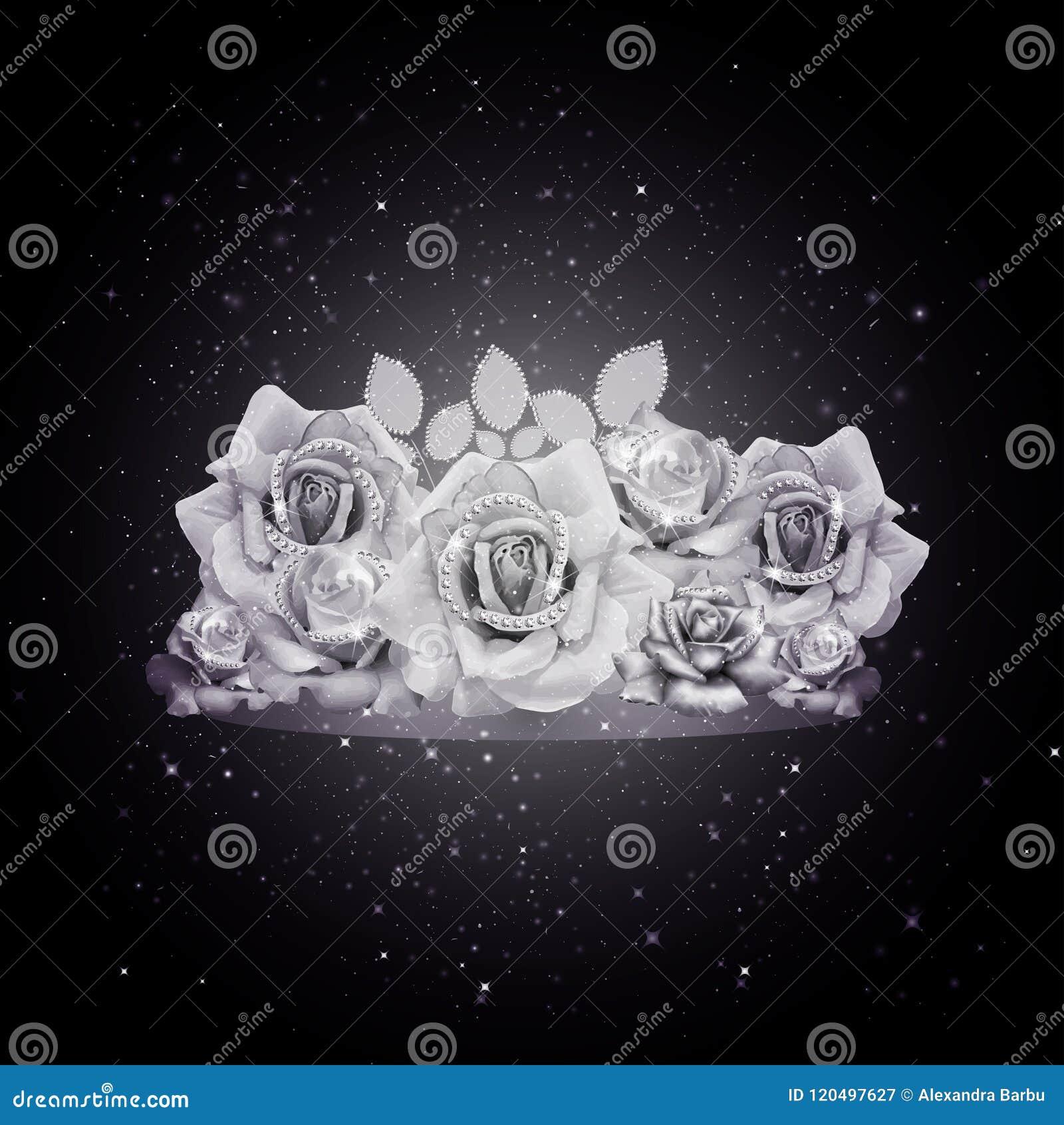 Glamour White Roses Black Background Stock Vector