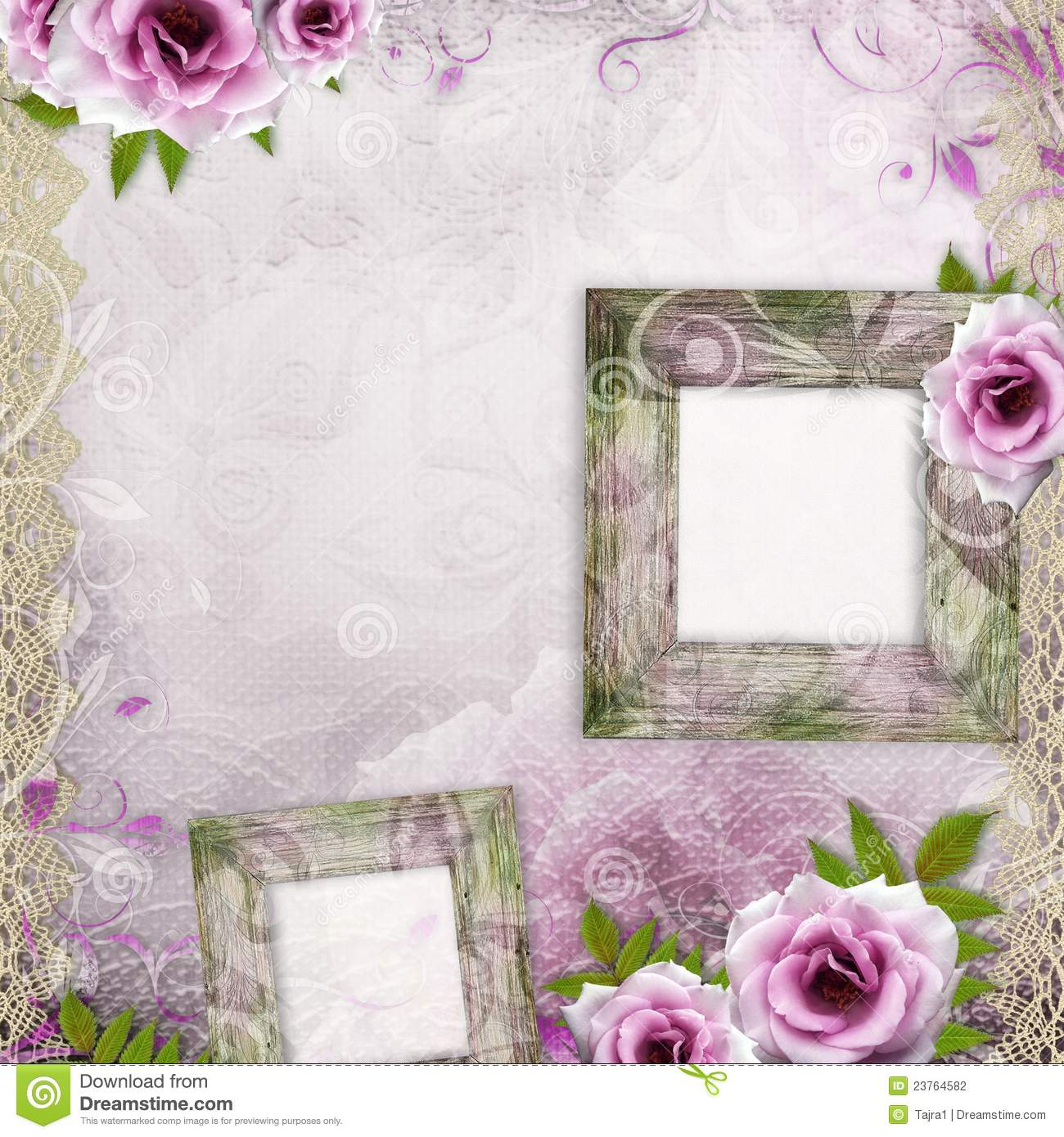White Beautiful Wedding Background With Frame Stock Photography