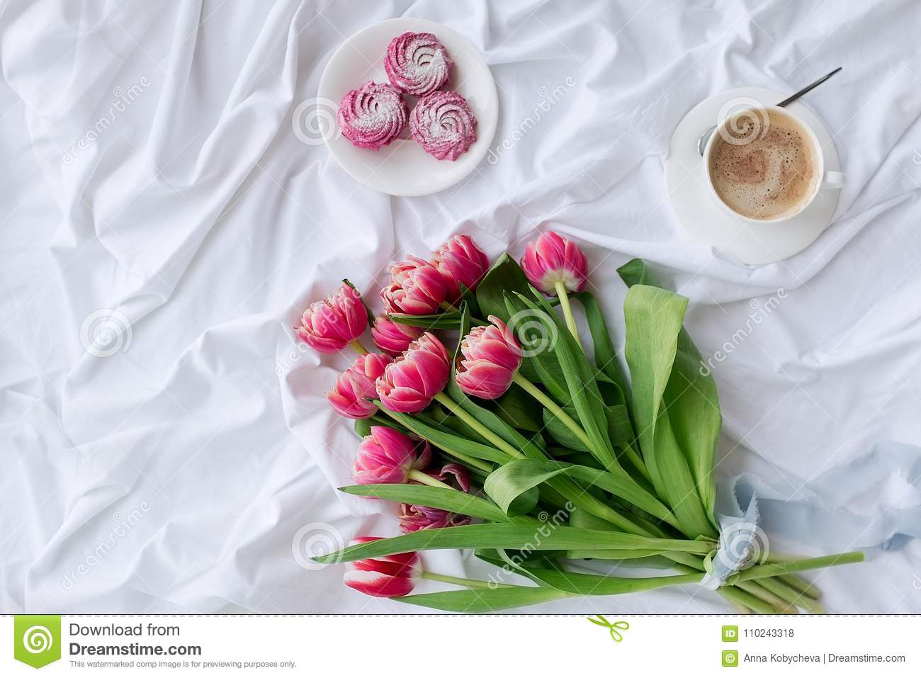 White Bed With Bouquet Of Tulips Stock Photo - Image of beautiful ...