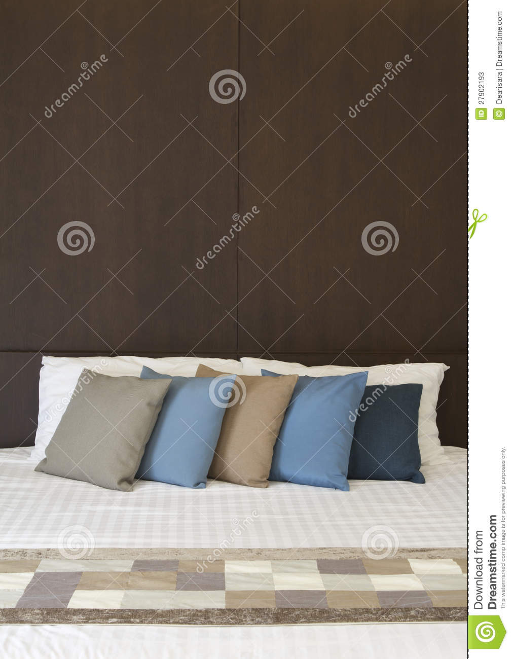 White Bed With Multi Color Pillows Stock Photos Image