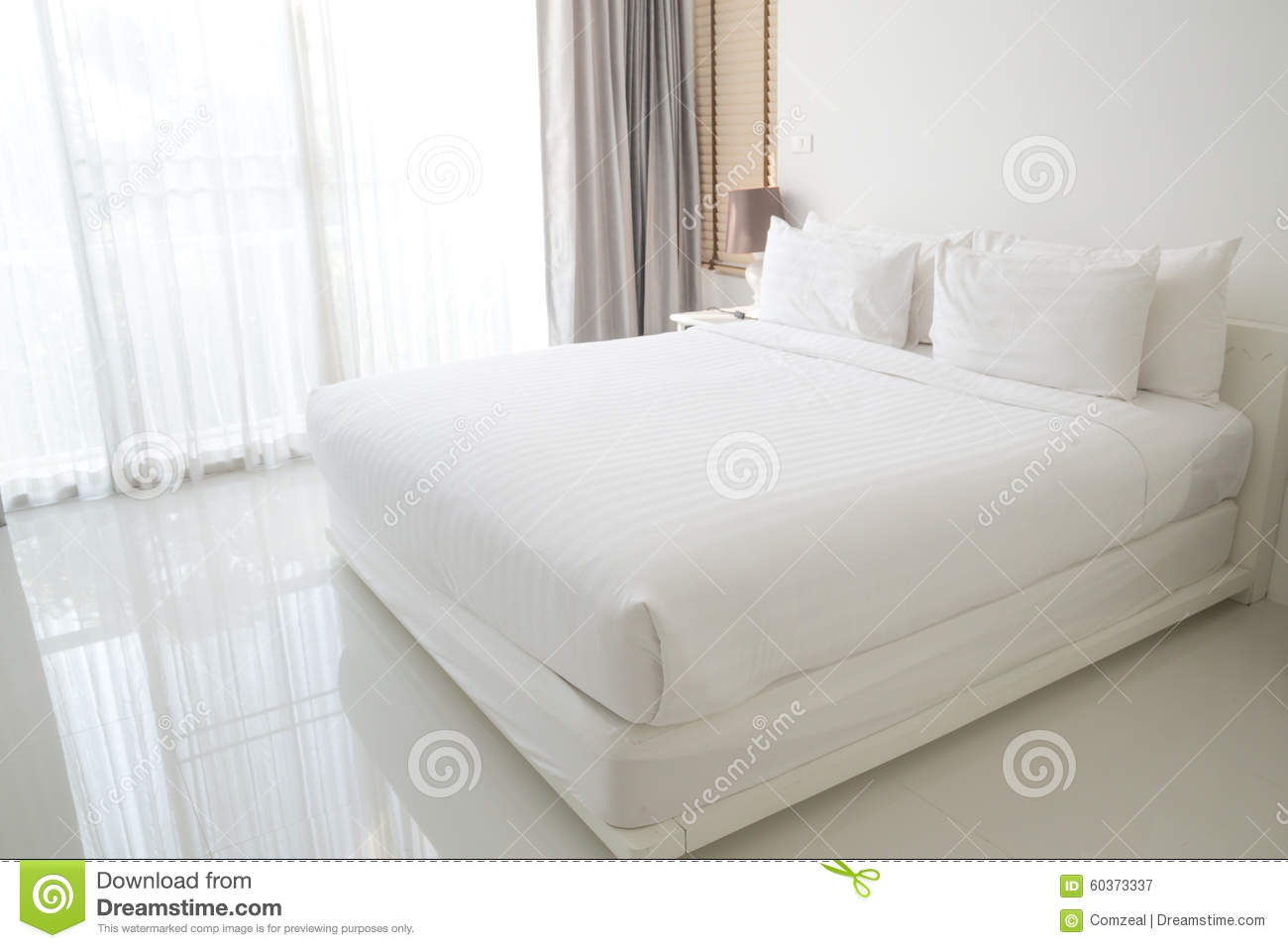 White bed sheets and pillows stock photo image 60373337