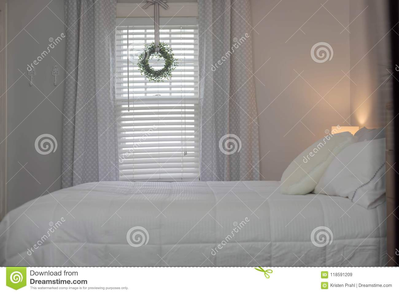 Clean Fresh Bedroom In Neutral Gray And White Palette Stock Image