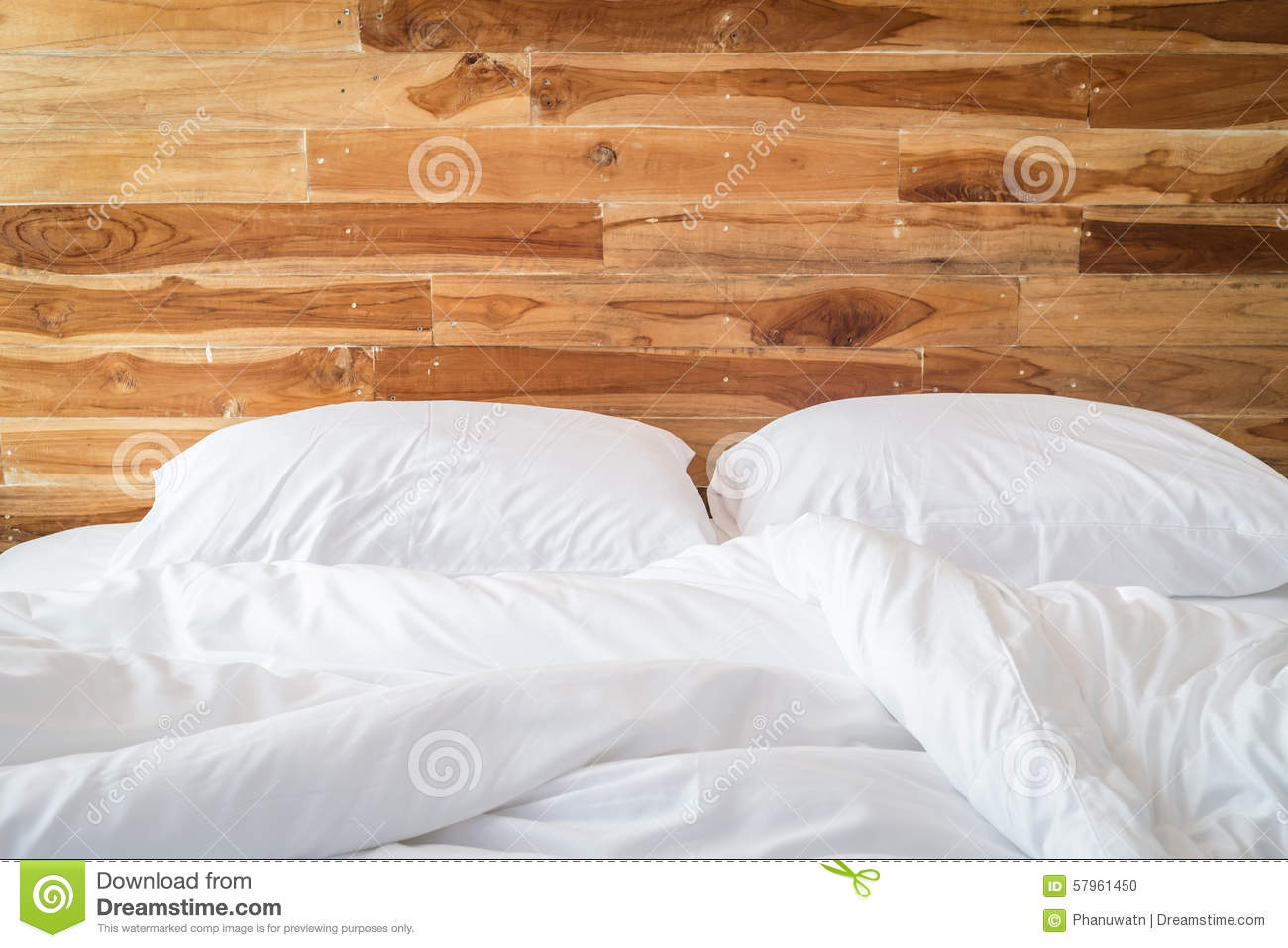 White Bedding Sheets And Pillow Messy Bed Concept Stock