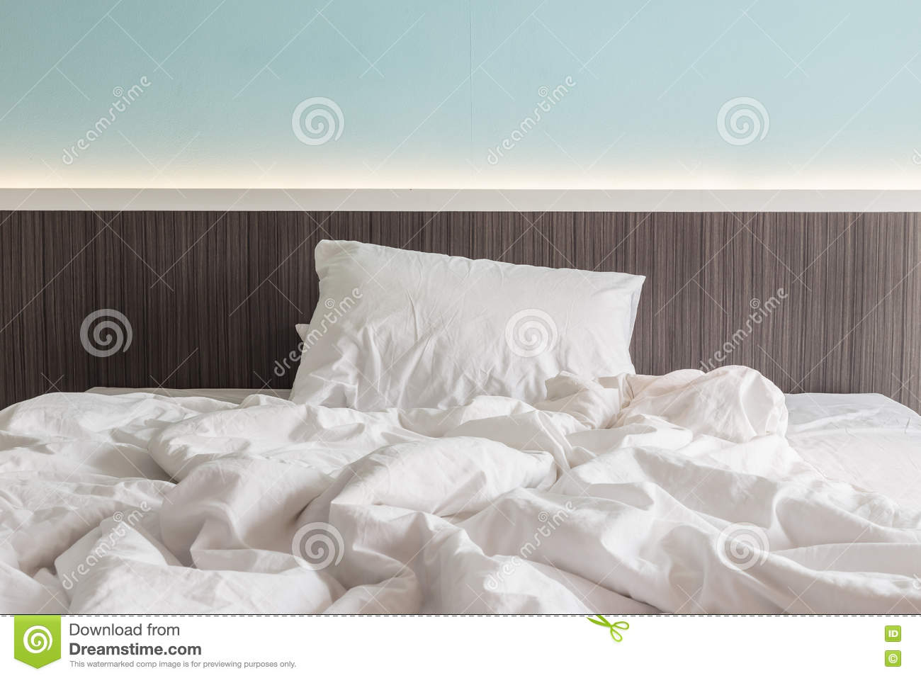 Download White Bedding Sheets And Pillow, Messy Bed Concept Stock Image    Image Of Sheet