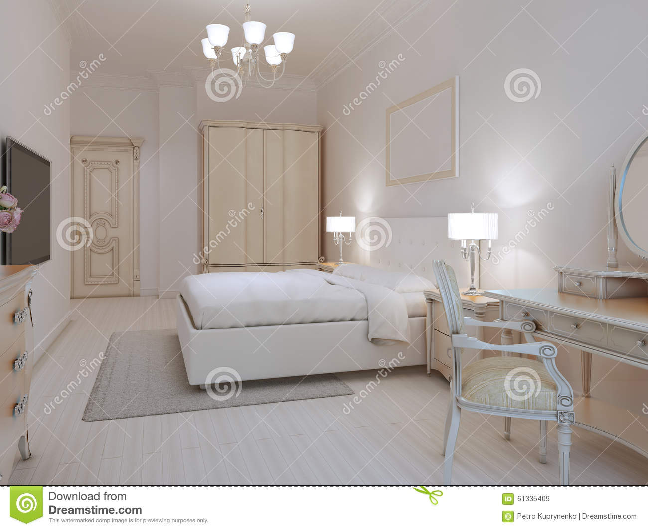white bedroom art deco style stock illustration illustration 61335409. Black Bedroom Furniture Sets. Home Design Ideas