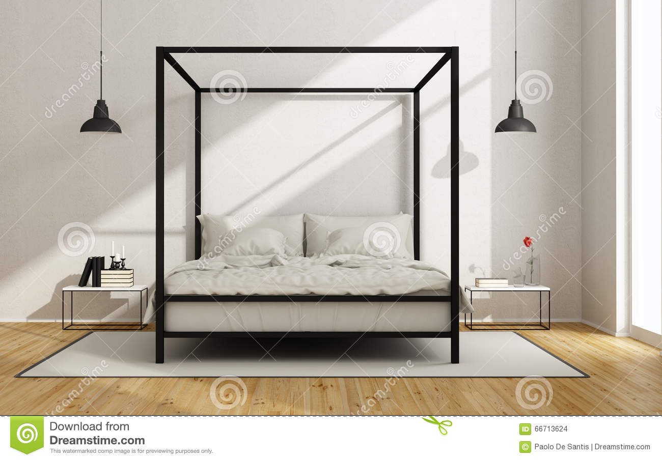 White bedroom with canopy bed stock illustration image for White bedroom canopy