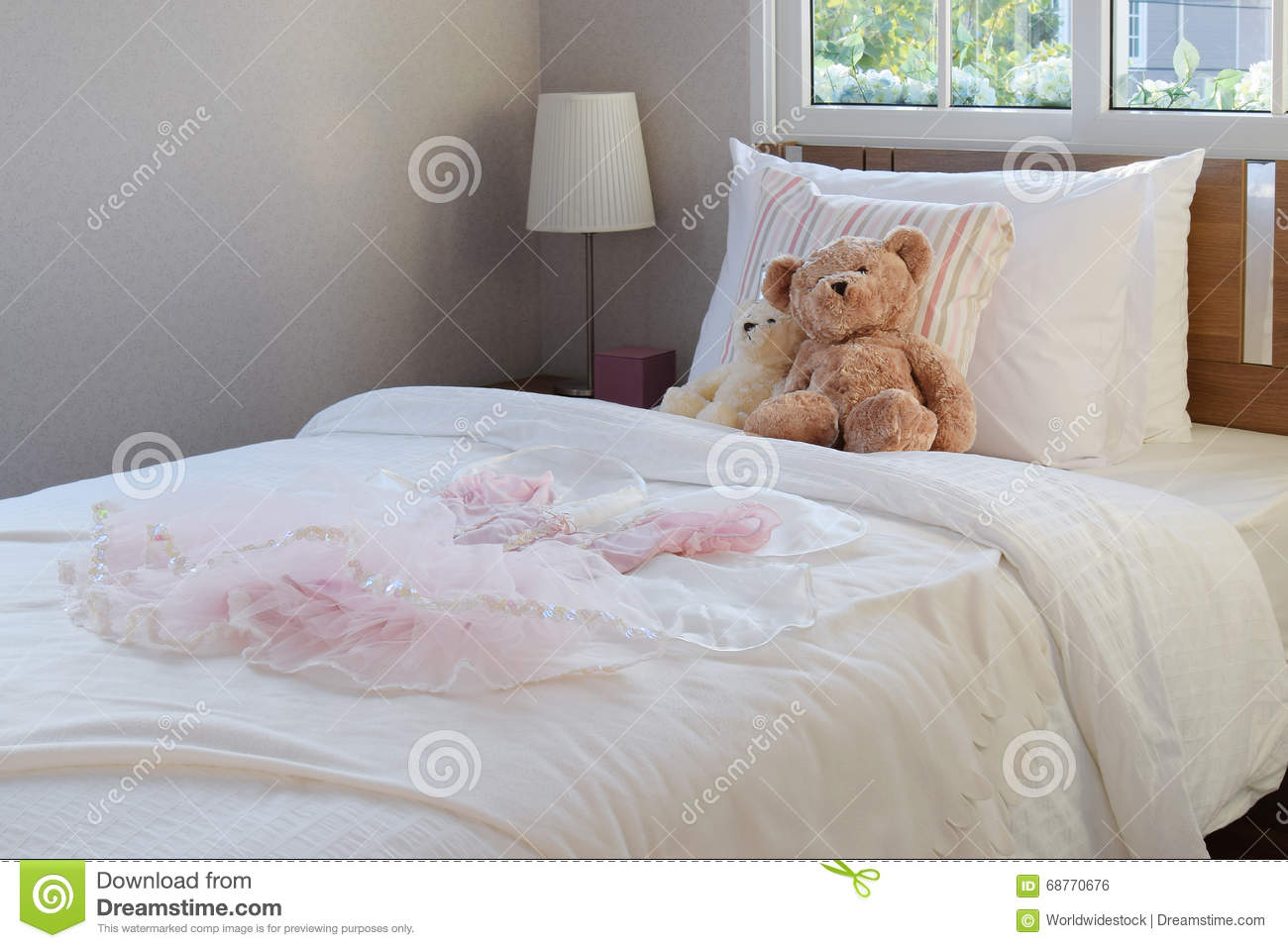 White Decorative Pillows For Bed : White Bedroom Decorative With Pillows And Dolls Stock Photo - Image of dolls, bedroom: 68770676