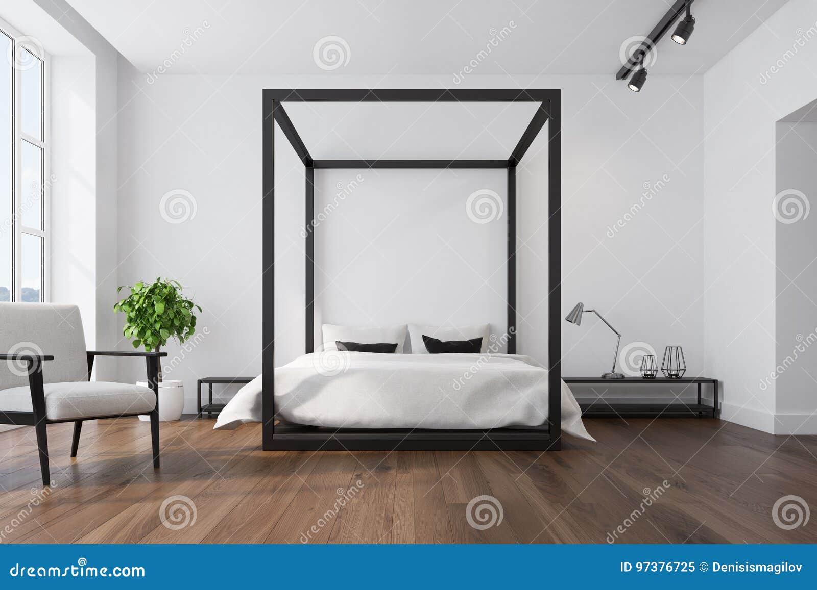 White bedroom interior, armchair