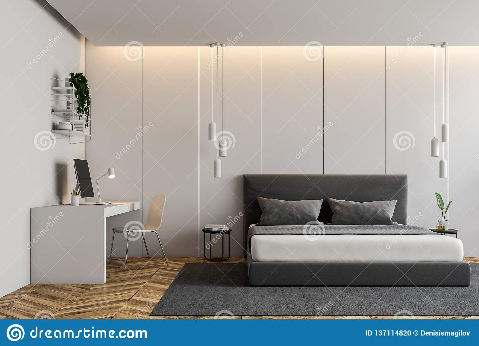 L Desk White For Your Dwelling Workplace Interior of modern bedroom with white walls, wooden floor, gray master bed  on carpet and white computer table. 3d rendering