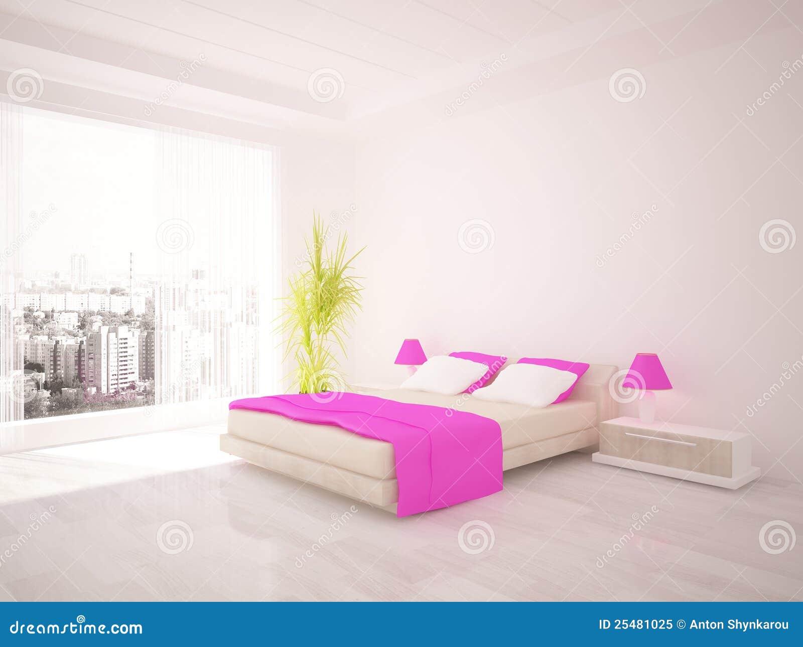 White Bedroom Interior Design Royalty Free Stock Photo