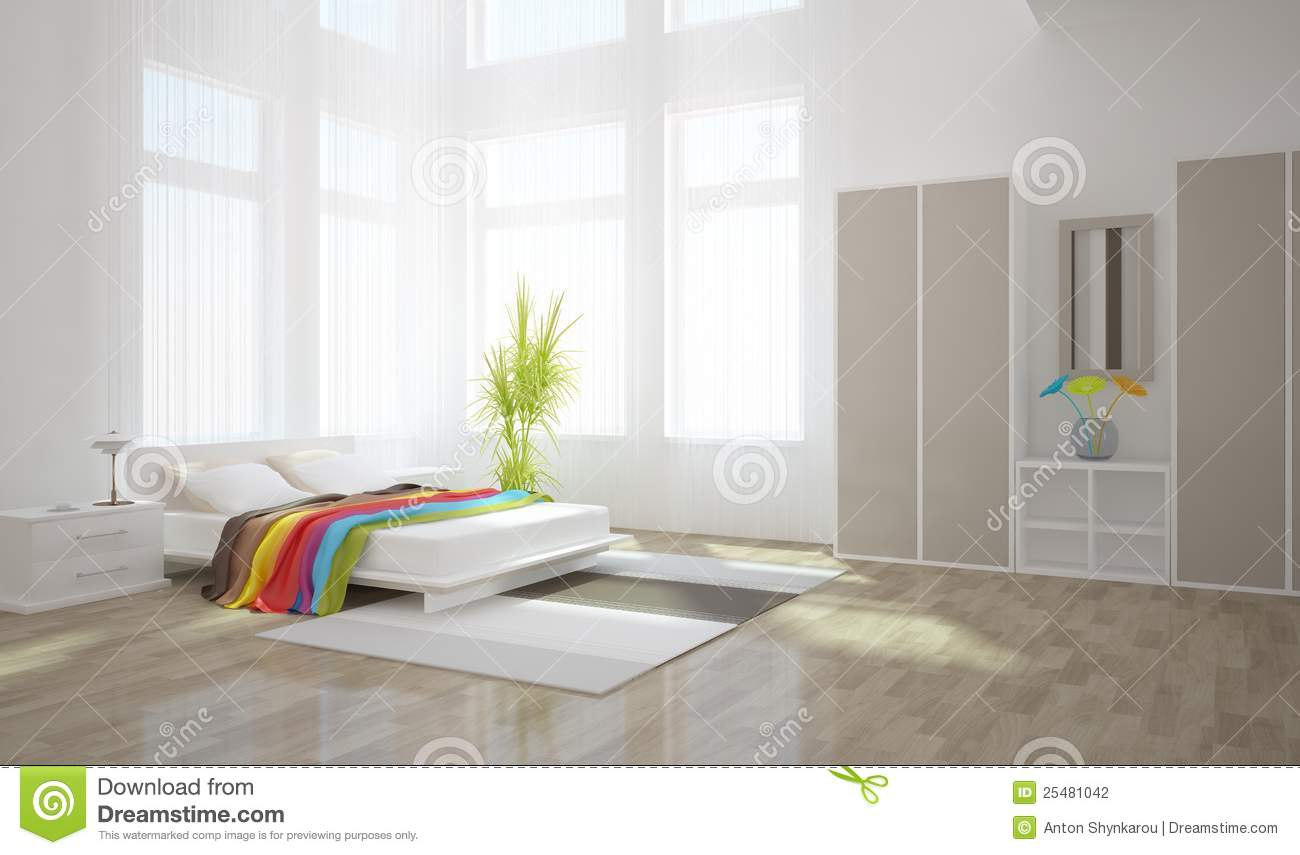 White Bedroom Interior Design Stock Photography Image