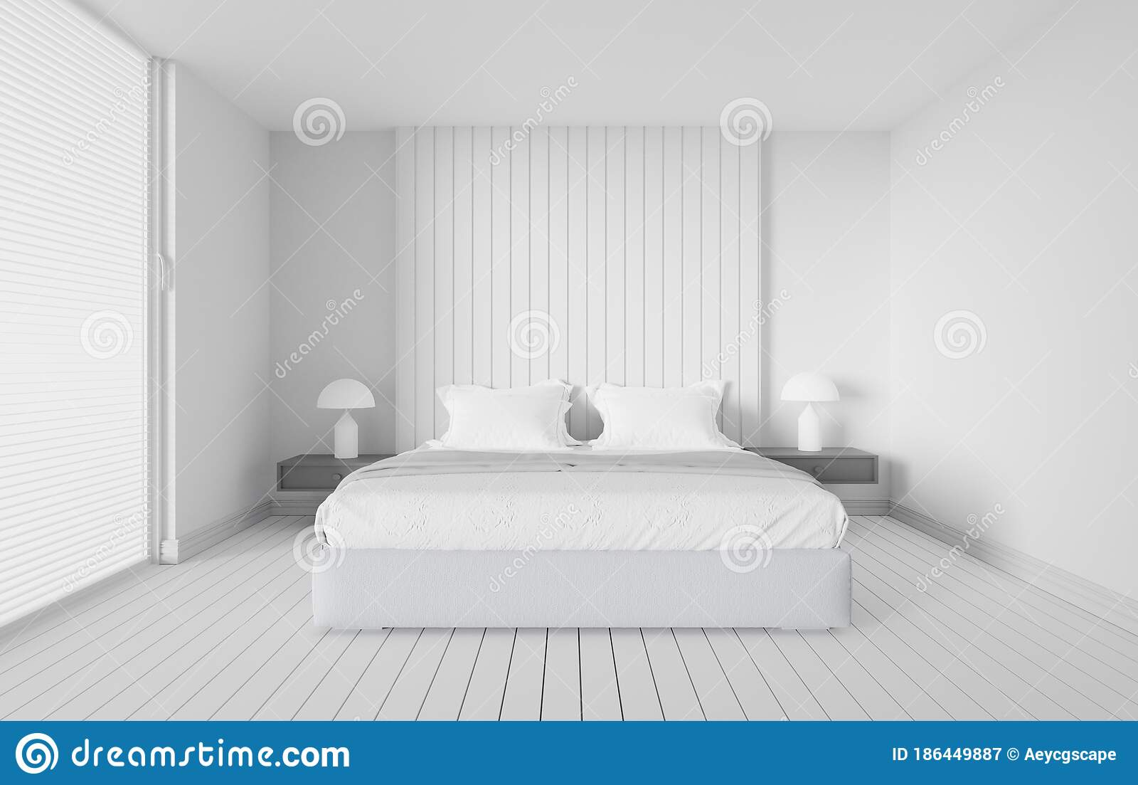 White Bedroom Interior Design 3d Render Scandinavian Modern Style Stock Illustration Illustration Of Comfortable Hotel 186449887