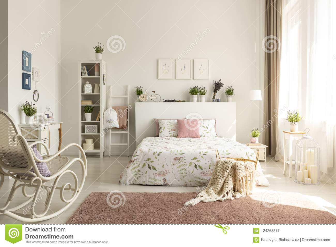 White Bedroom Interior With Dirty Pink Carpet, Rocking Chair, Wi ...