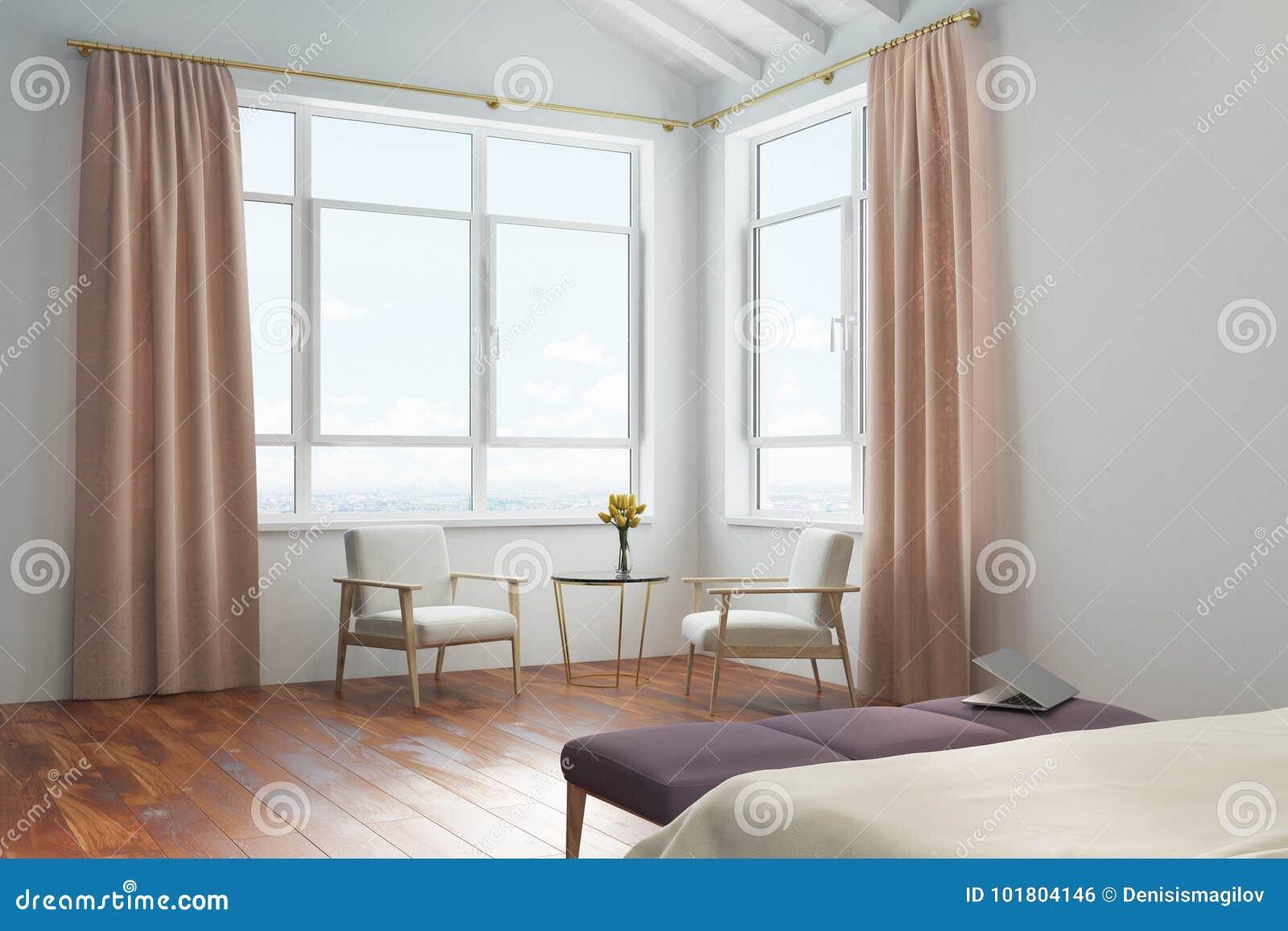 White Bedroom, Peach Curtains Stock Illustration - Illustration of ...