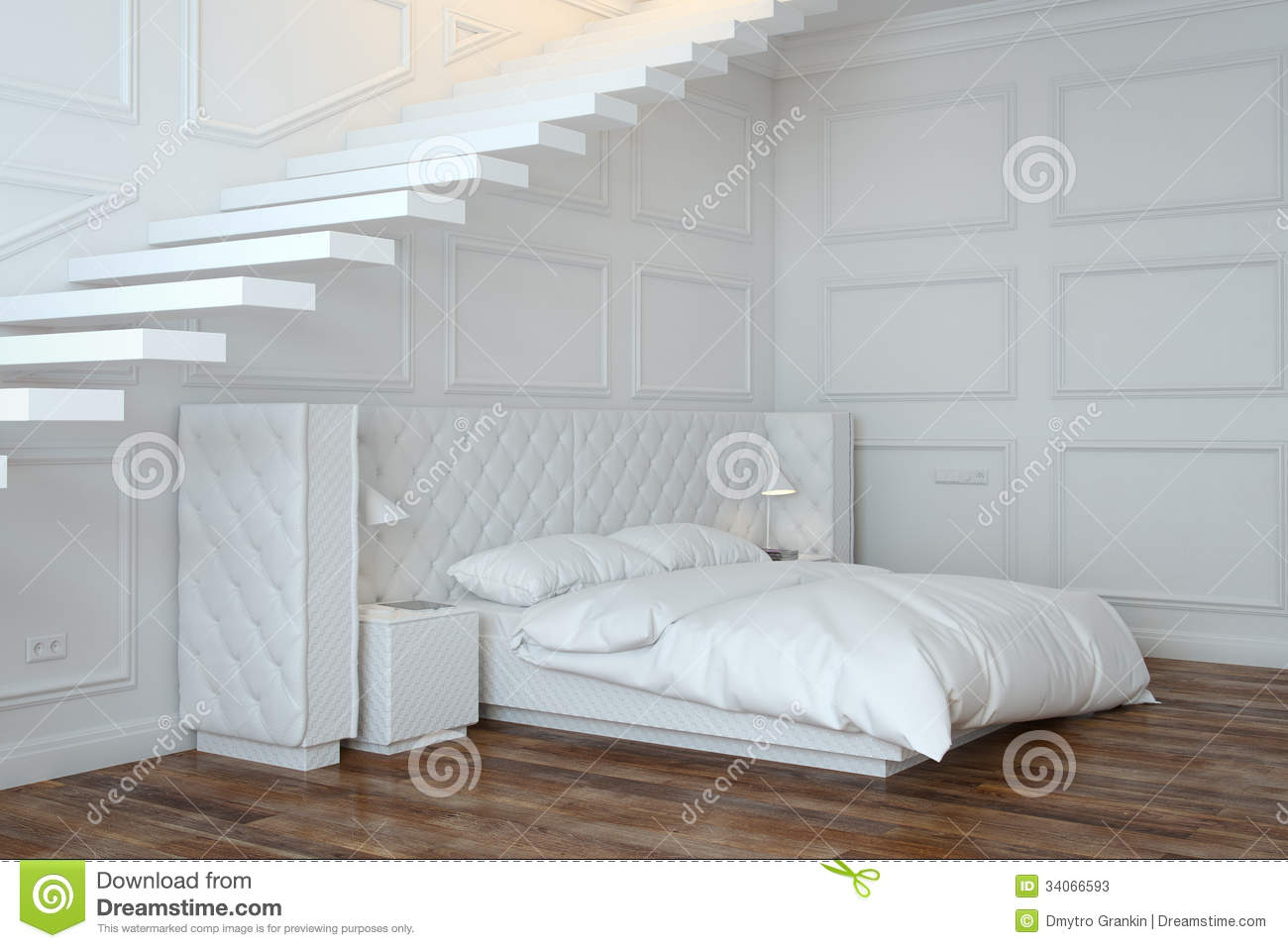 White Bedroom Interior With Stairs Perspective View