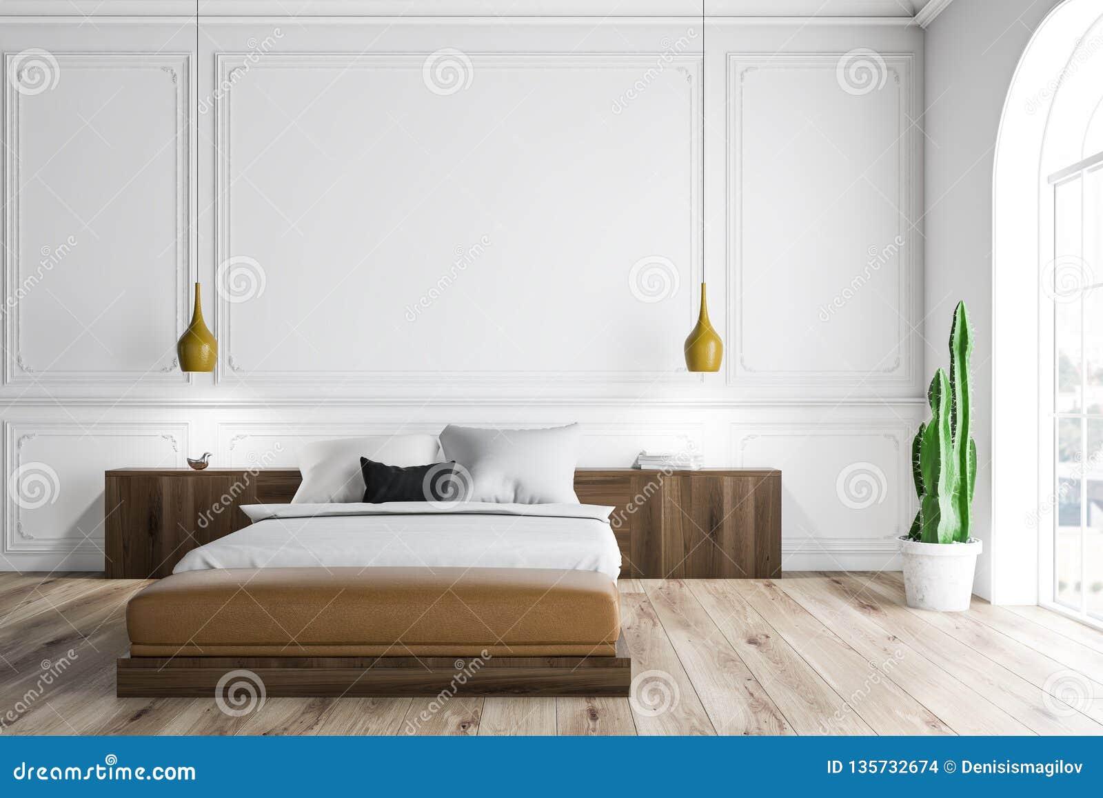 White bedroom interior stock illustration. Illustration of ...