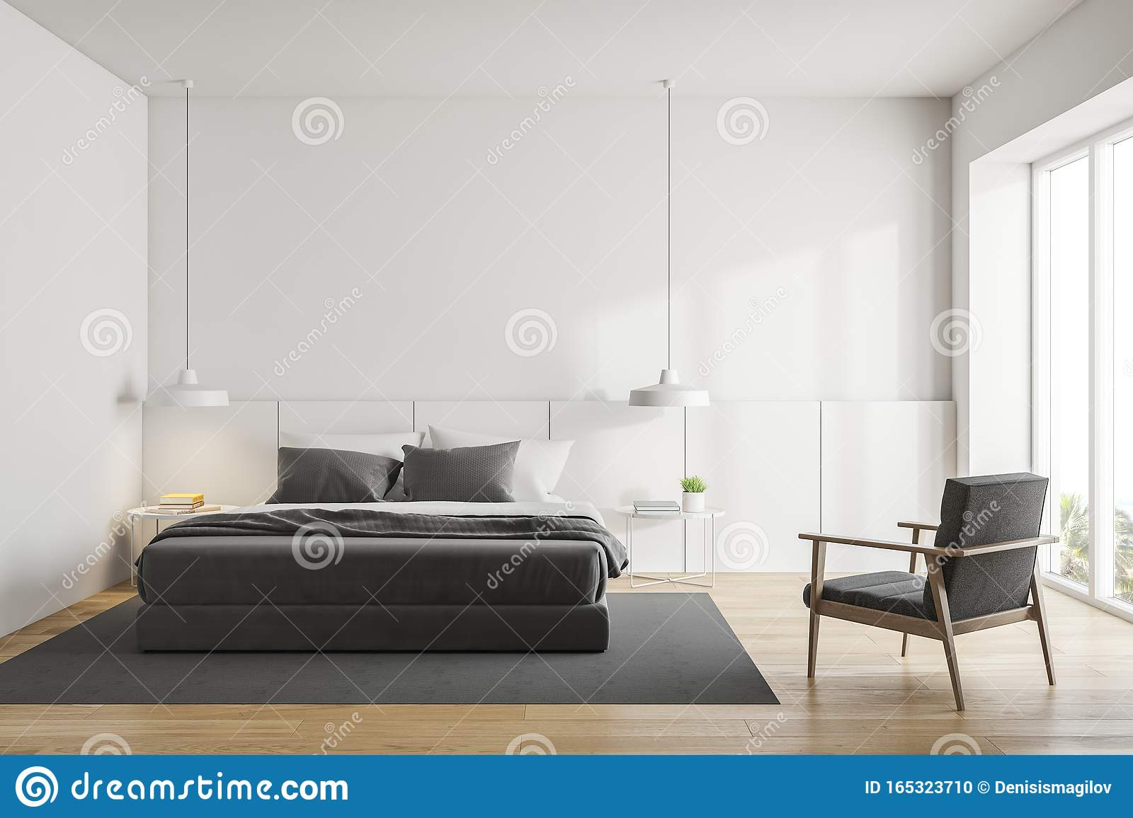White Bedroom With King Size Bed And Armchair Stock Illustration Illustration Of Apartment Beautiful 165323710