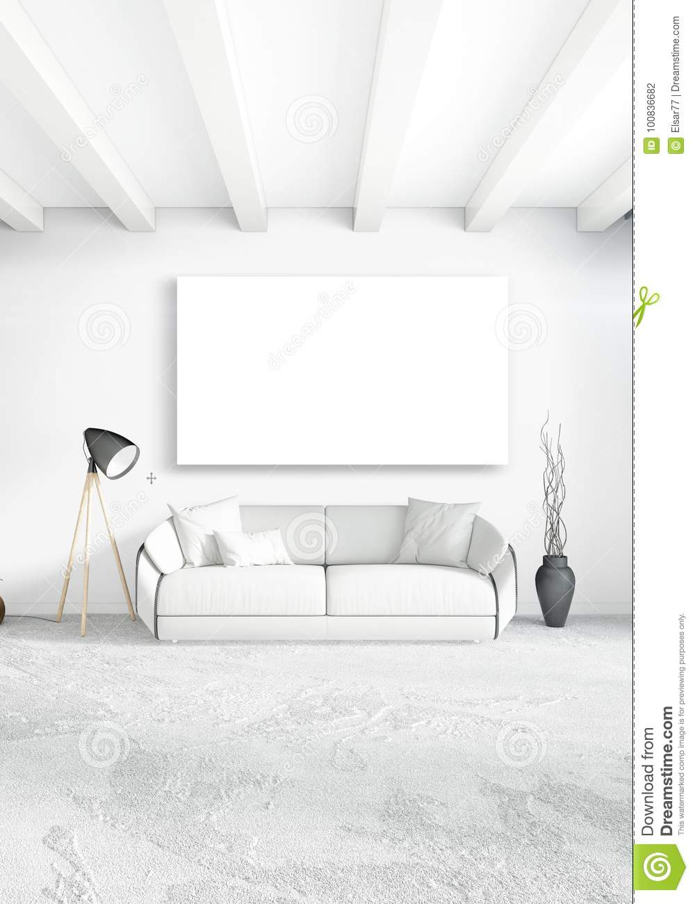 White Bedroom Or Livingroom Minimal Style Interior Design With