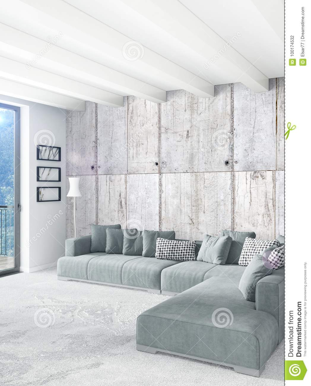 white bedroom minimal style interior design with wood wall and grey