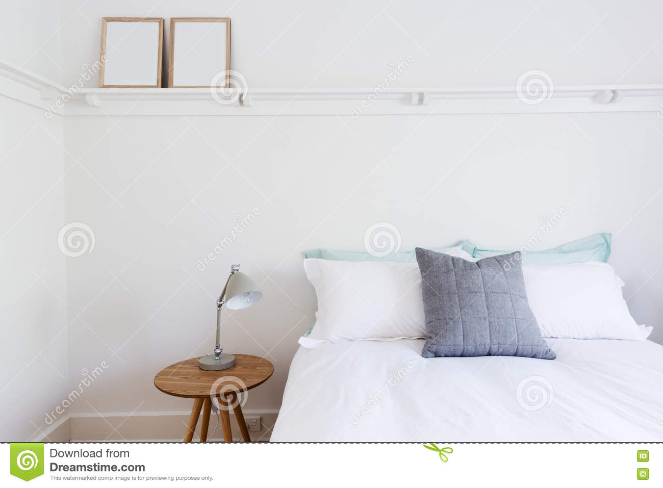 Bedroom at beach royalty free stock photography for Minimalist household items
