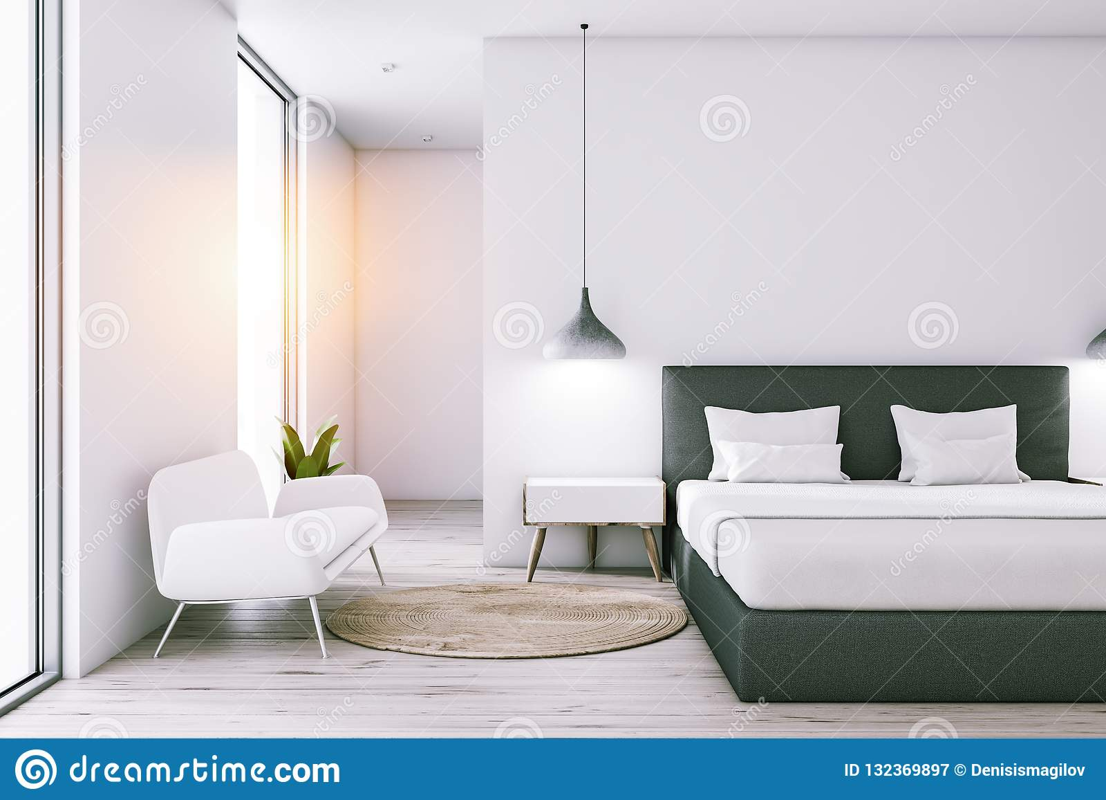 White bedroom with sofa stock illustration. Illustration of