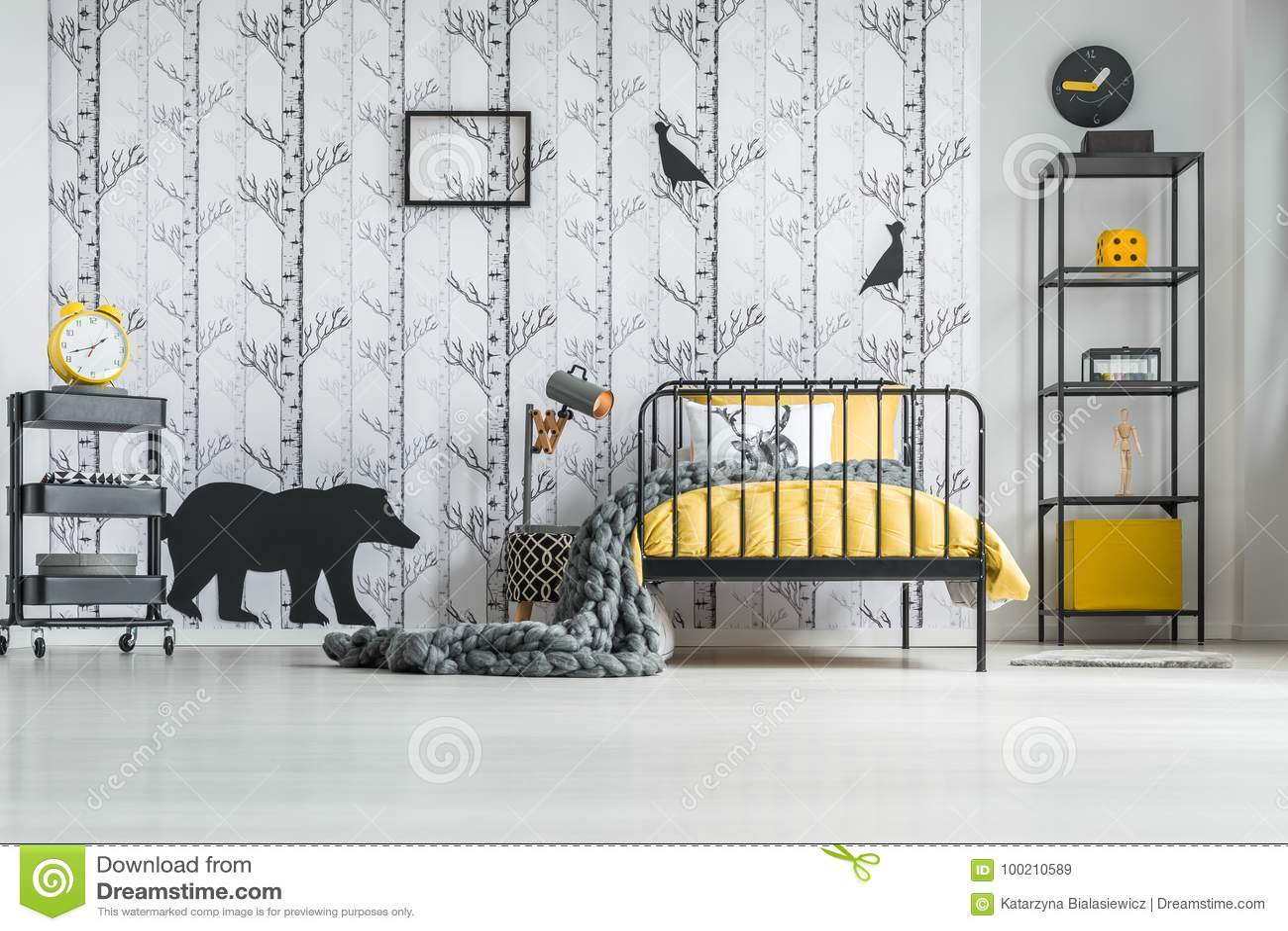 White Bedroom With Yellow Clock Stock Image - Image of shelf ...