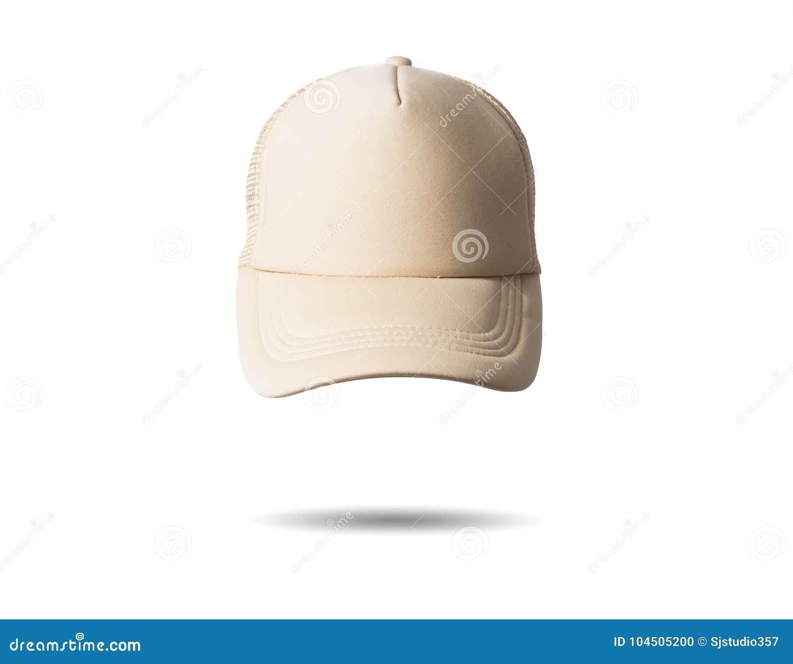 white beige baseball cap on white background isolated mock up free
