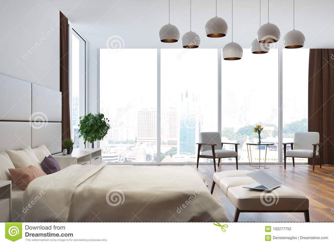 White And Beige Bedroom Close Up Side Stock Illustration ...