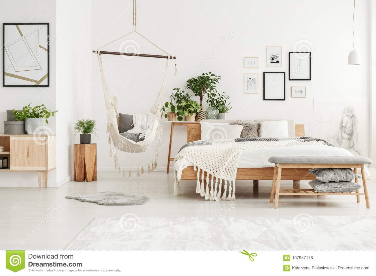 White And Beige Bedroom Interior Stock Photo - Image of chair, flat ...