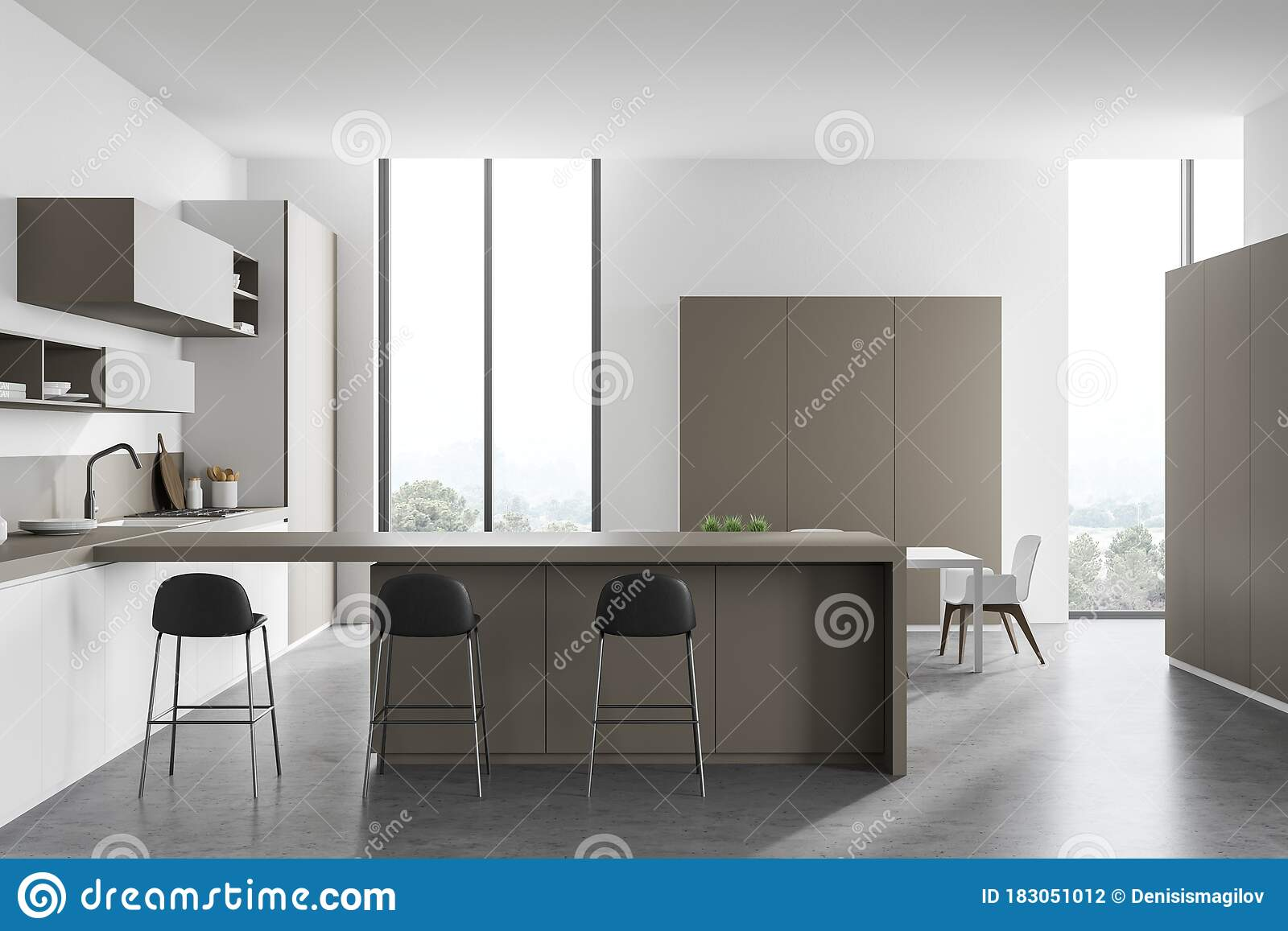 White And Beige Kitchen With Bar And Table Stock Illustration Illustration Of Home Indoors 183051012
